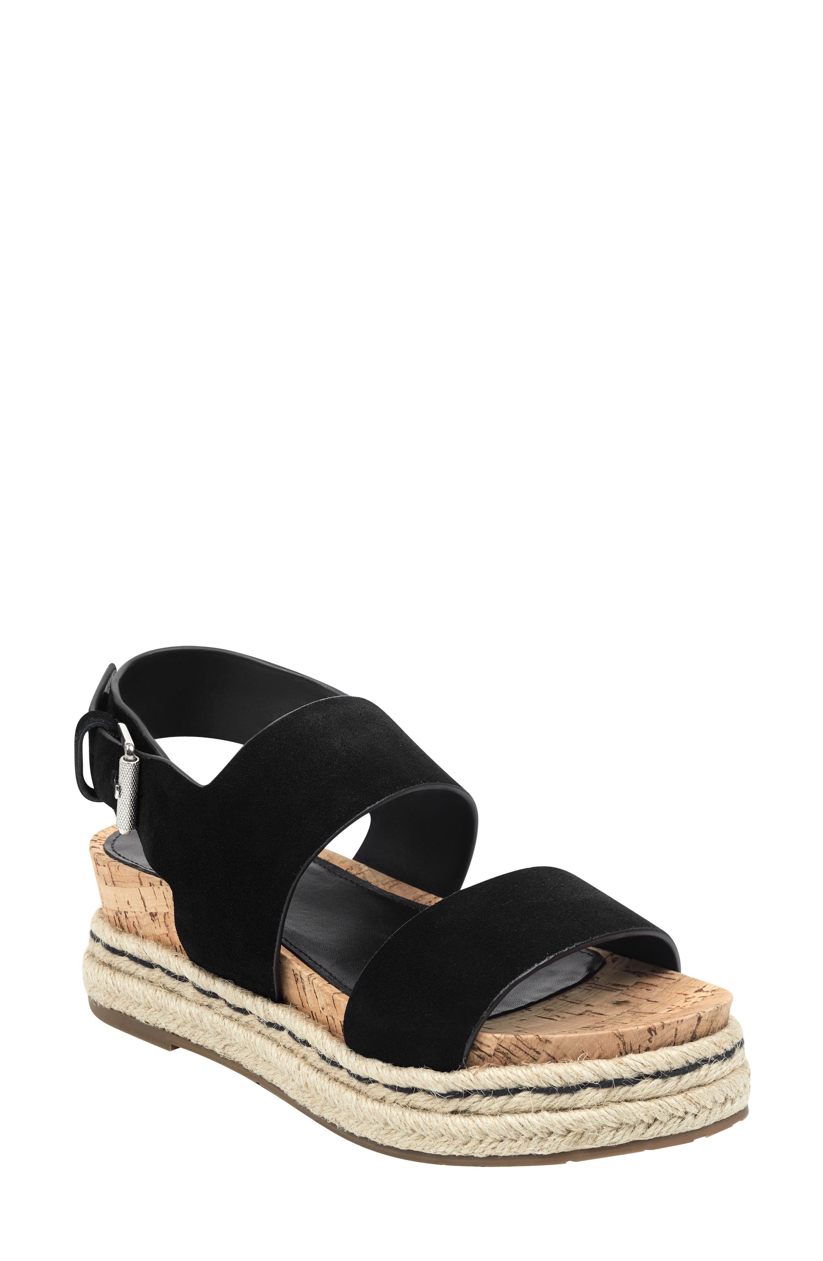 MARC FISHER LTD, Oria Espadrille Platform Sandal, Main thumbnail 1, color, BLACK SUEDE