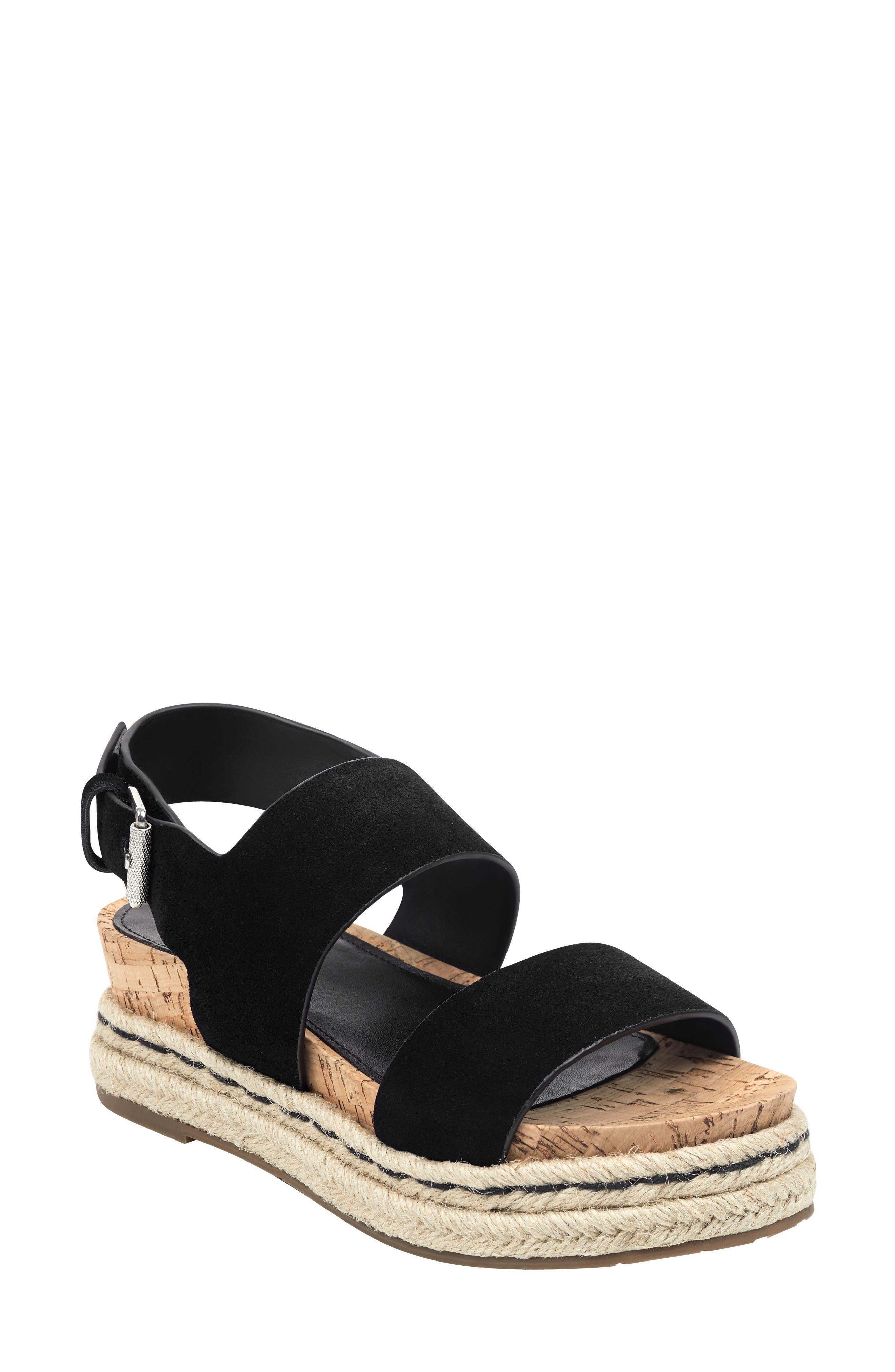 MARC FISHER LTD Oria Espadrille Platform Sandal, Main, color, BLACK SUEDE
