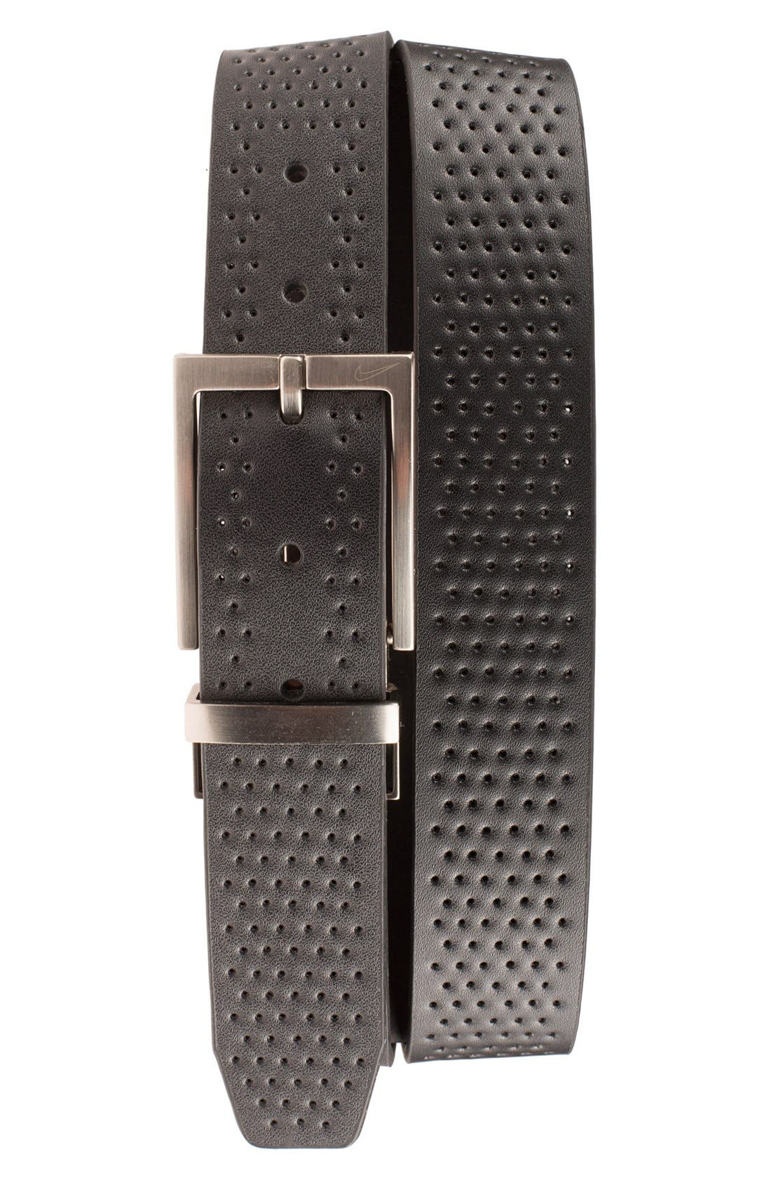 NIKE, Reversible Leather Belt, Main thumbnail 1, color, BLACK/ BROWN