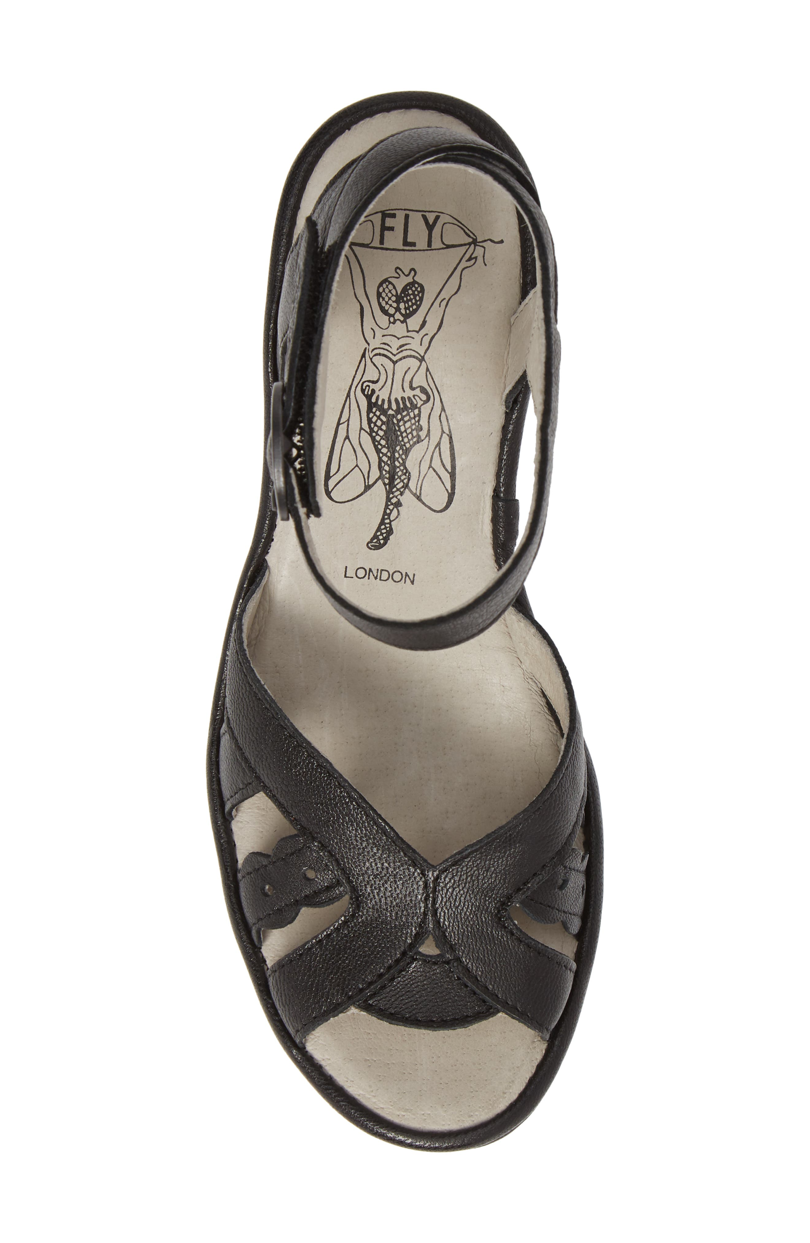 FLY LONDON, Yrat Wedge Sandal, Alternate thumbnail 5, color, BLACK LEATHER