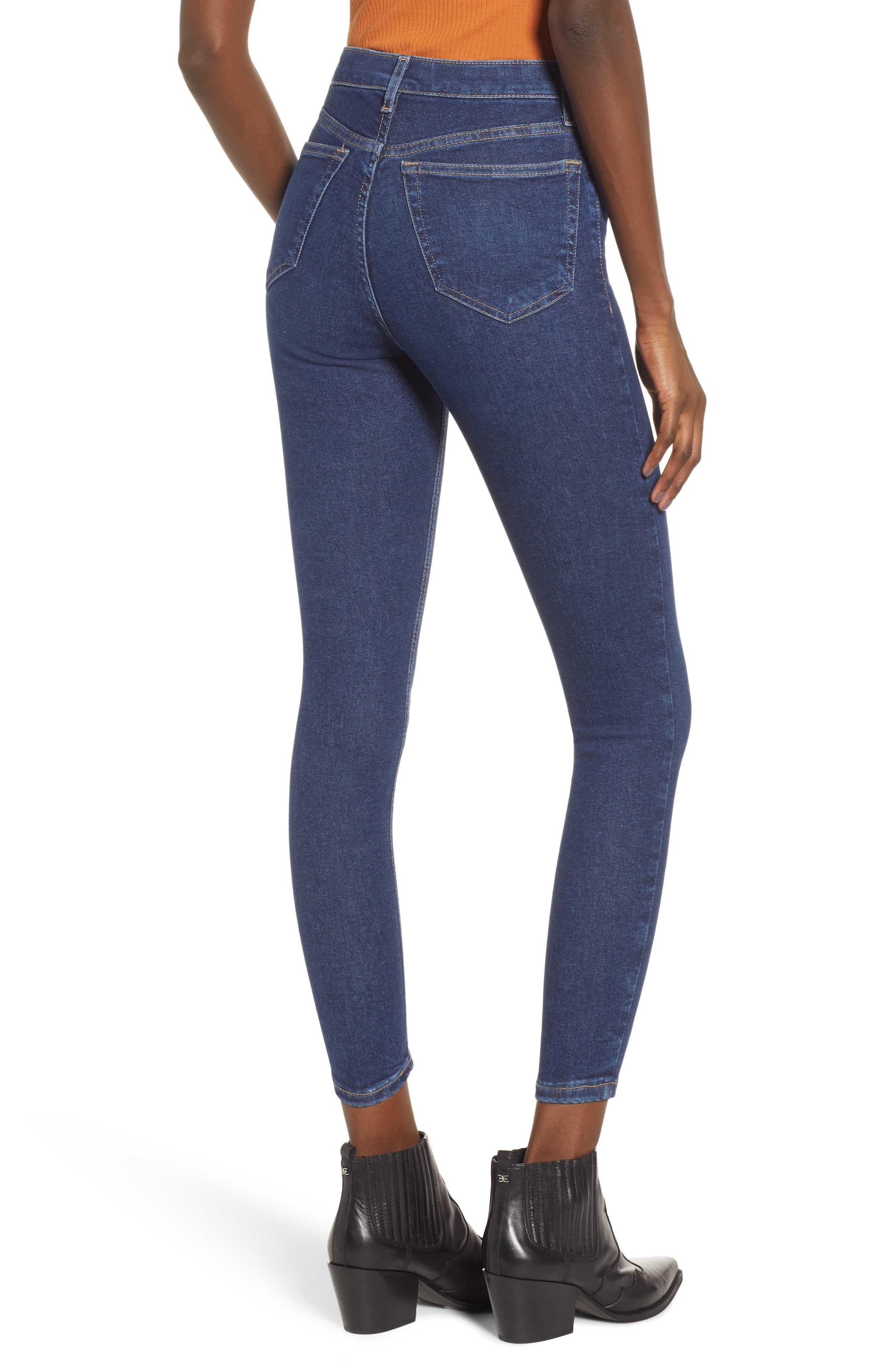 TOPSHOP, MOTO Jamie High Waist Skinny Jeans, Alternate thumbnail 2, color, INDIGO