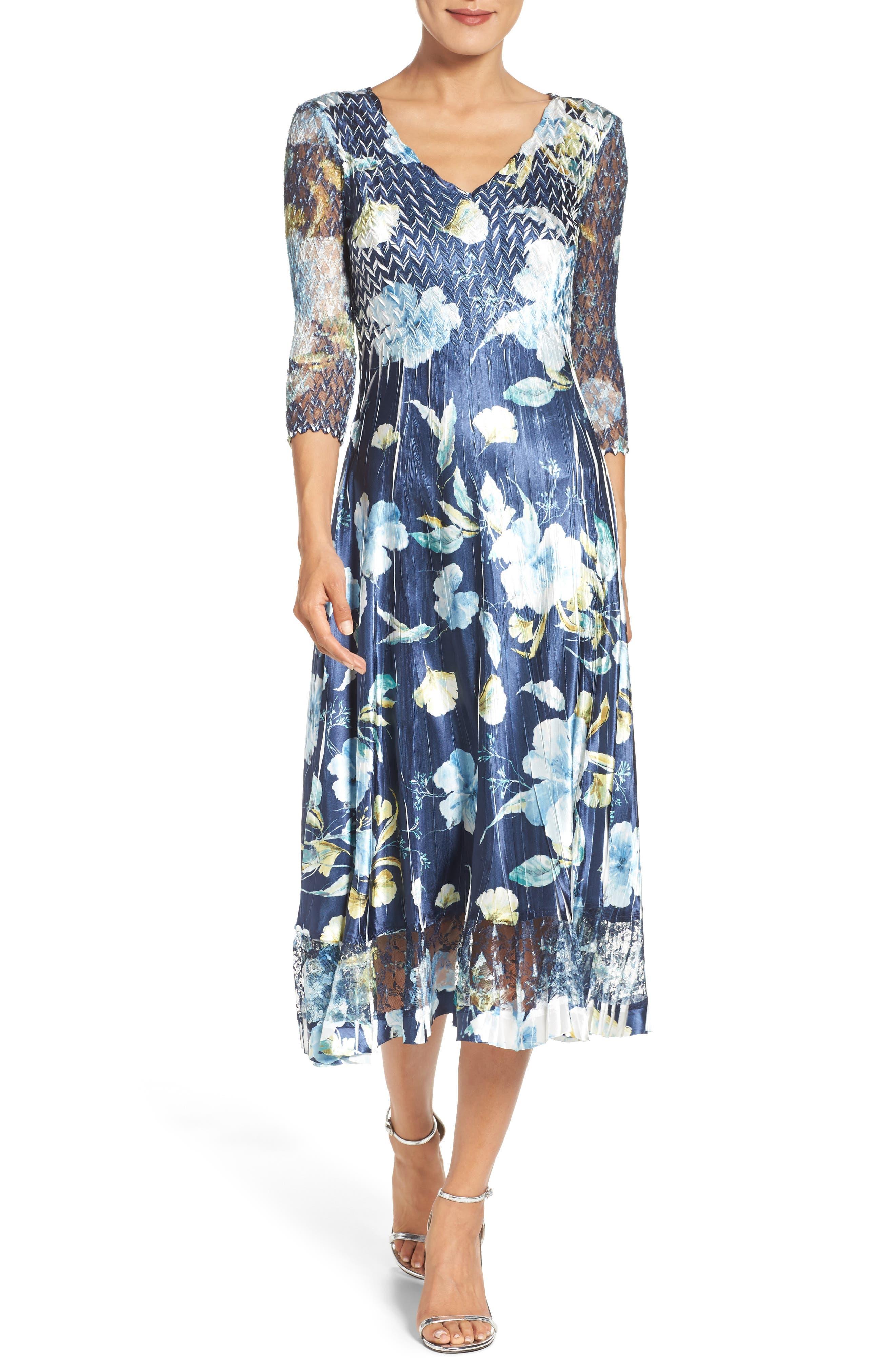 KOMAROV, A-Line Dress, Main thumbnail 1, color, SAPPHIRE