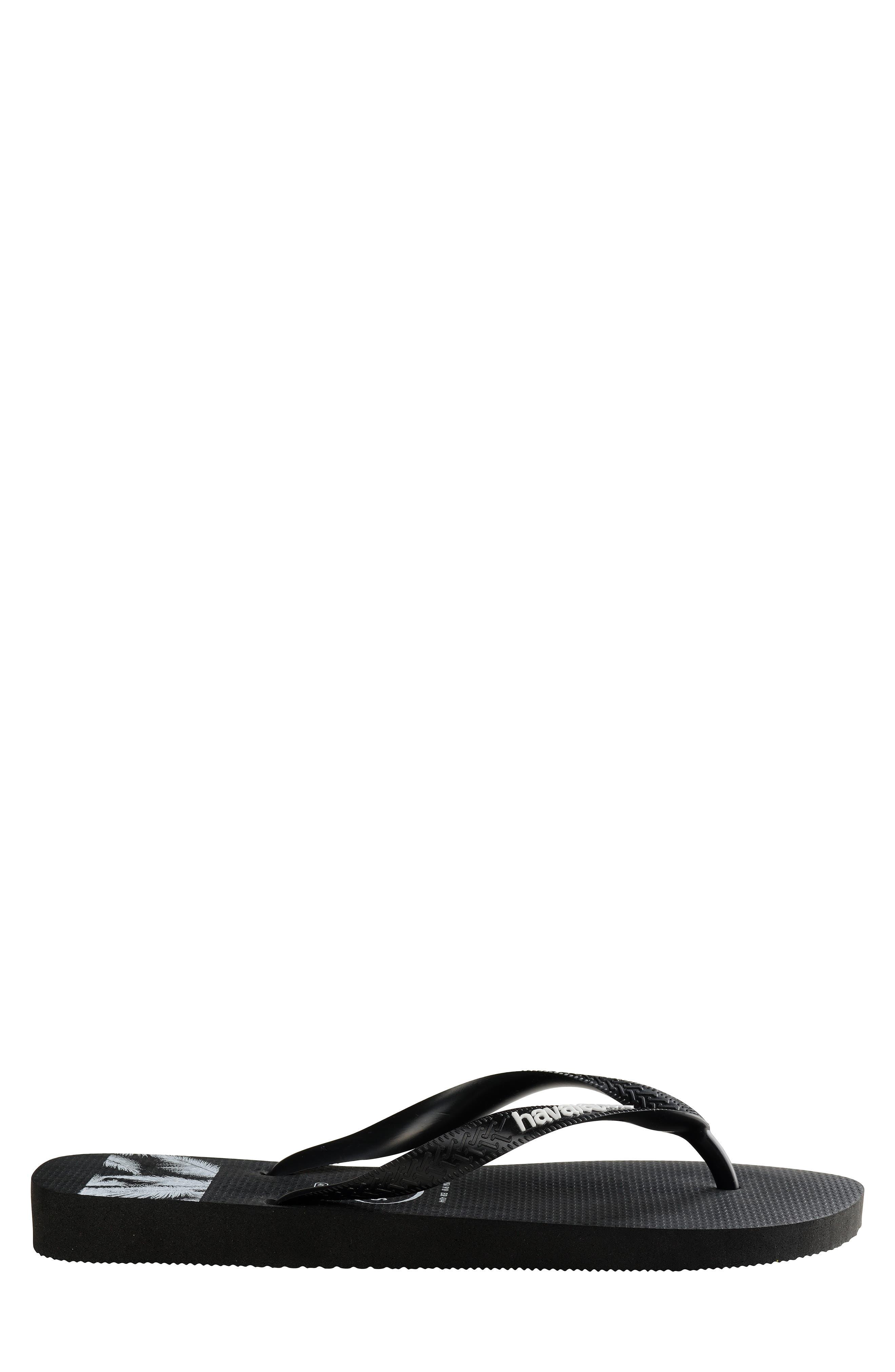 HAVAIANAS, Top Stripes Flip Flop, Alternate thumbnail 3, color, BLACK/ BLACK