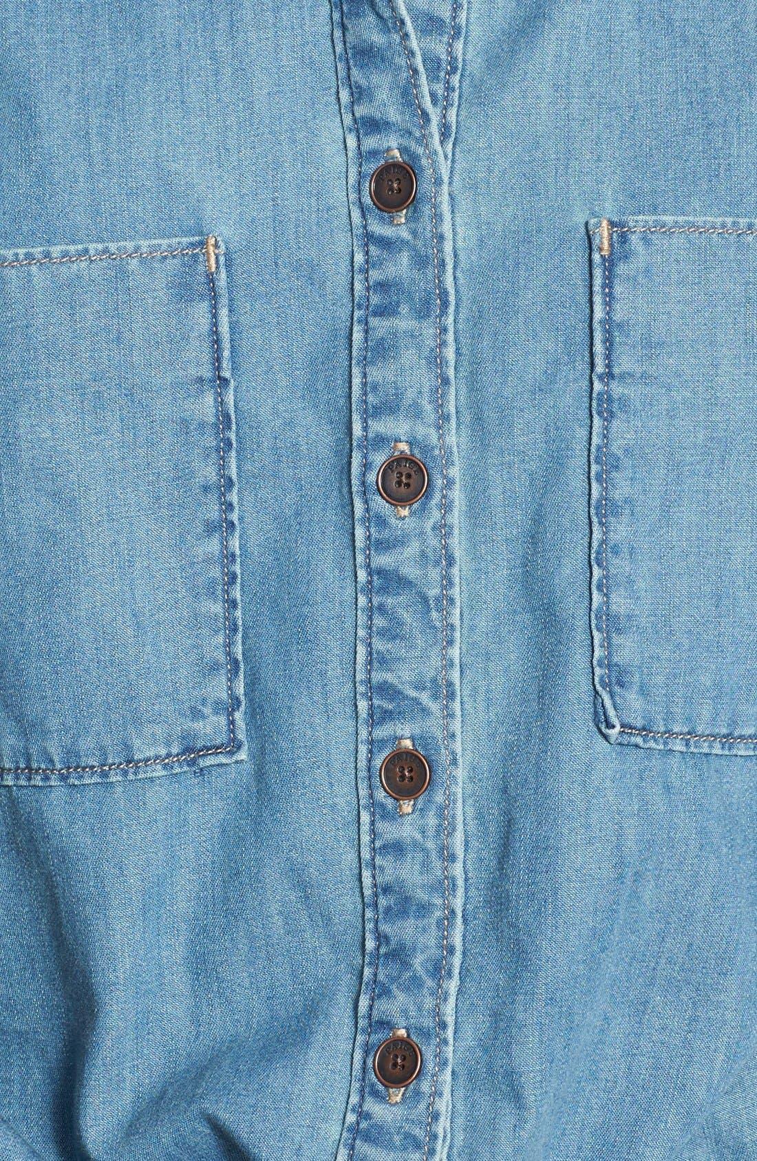 PAIGE, Denim 'Mila' Denim Shirtdress, Alternate thumbnail 3, color, 400