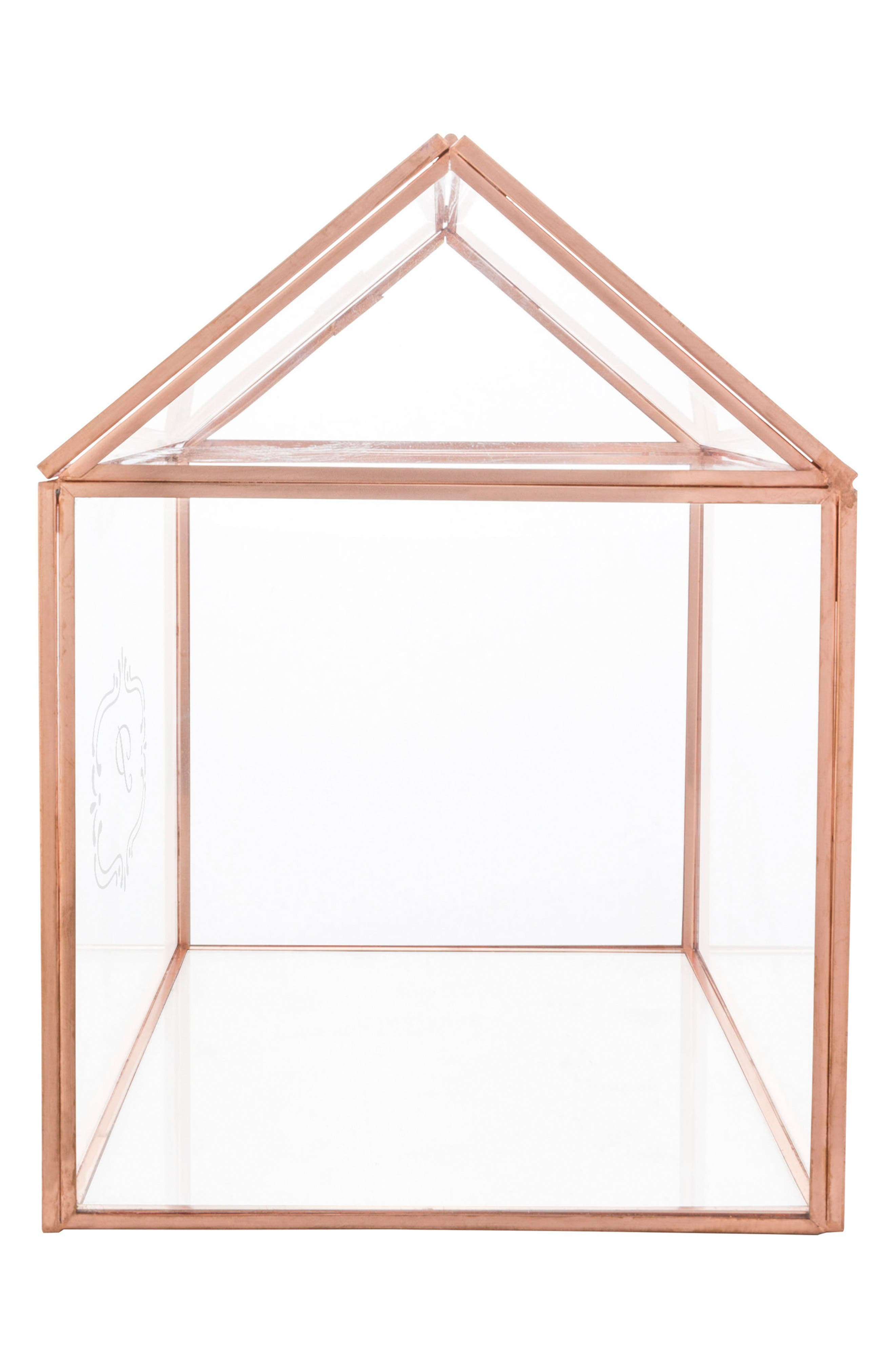 CATHY'S CONCEPTS, Monogram Rose Gold Reception Card Holder, Alternate thumbnail 4, color, ROSE GOLD