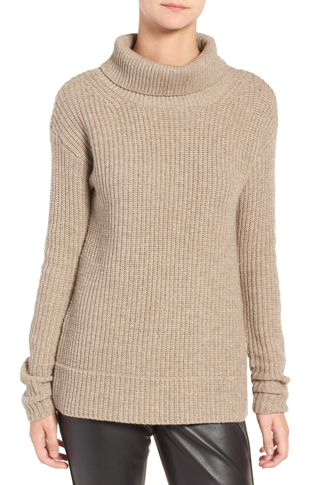 OLIVIA PALERMO + CHELSEA28, Open Back Wool & Cashmere Turtleneck Sweater, Alternate thumbnail 2, color, 235
