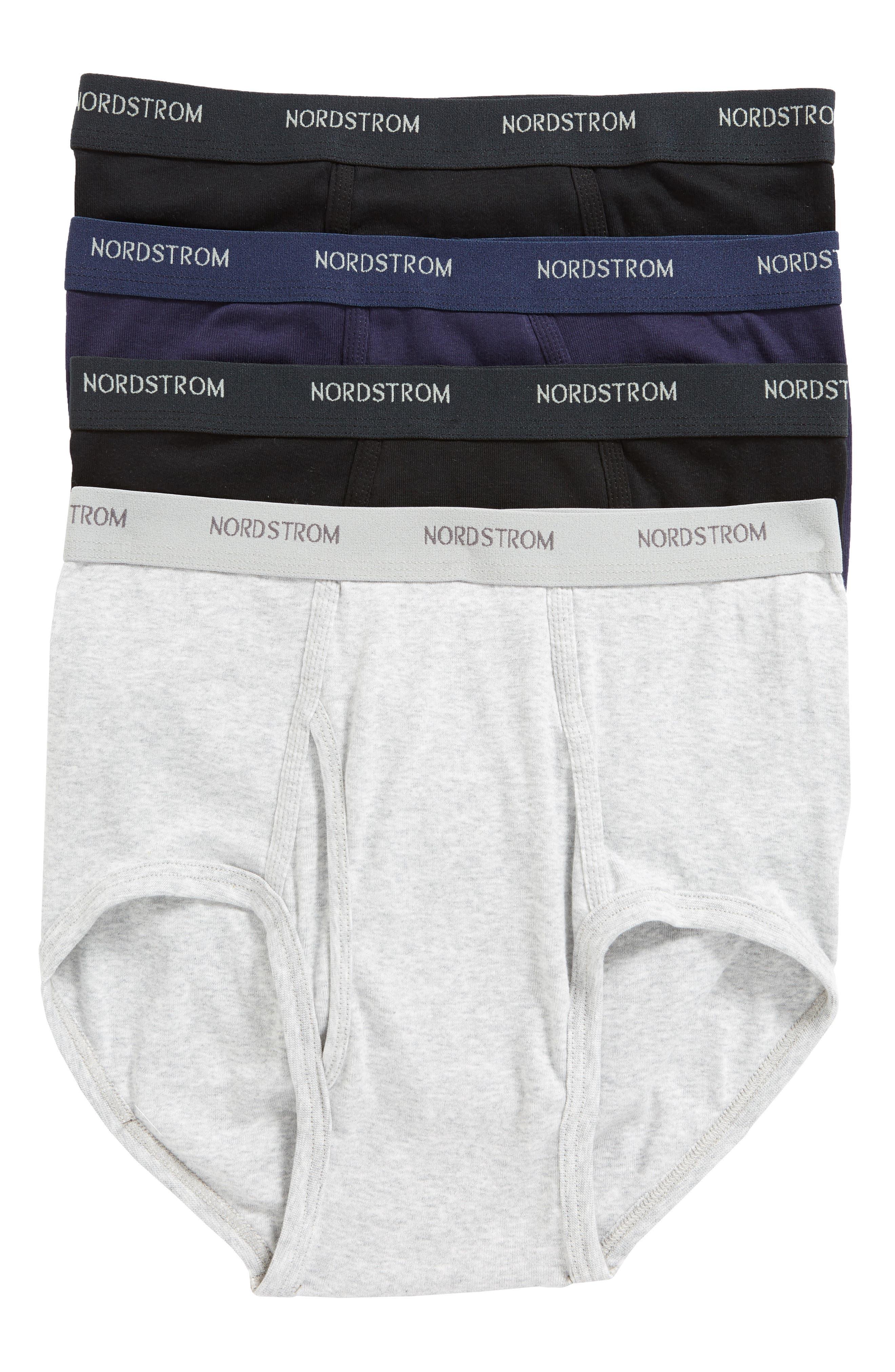 NORDSTROM MEN'S SHOP, 4-Pack Supima<sup>®</sup> Cotton Briefs, Main thumbnail 1, color, BLACK/ NAVY/ GREY
