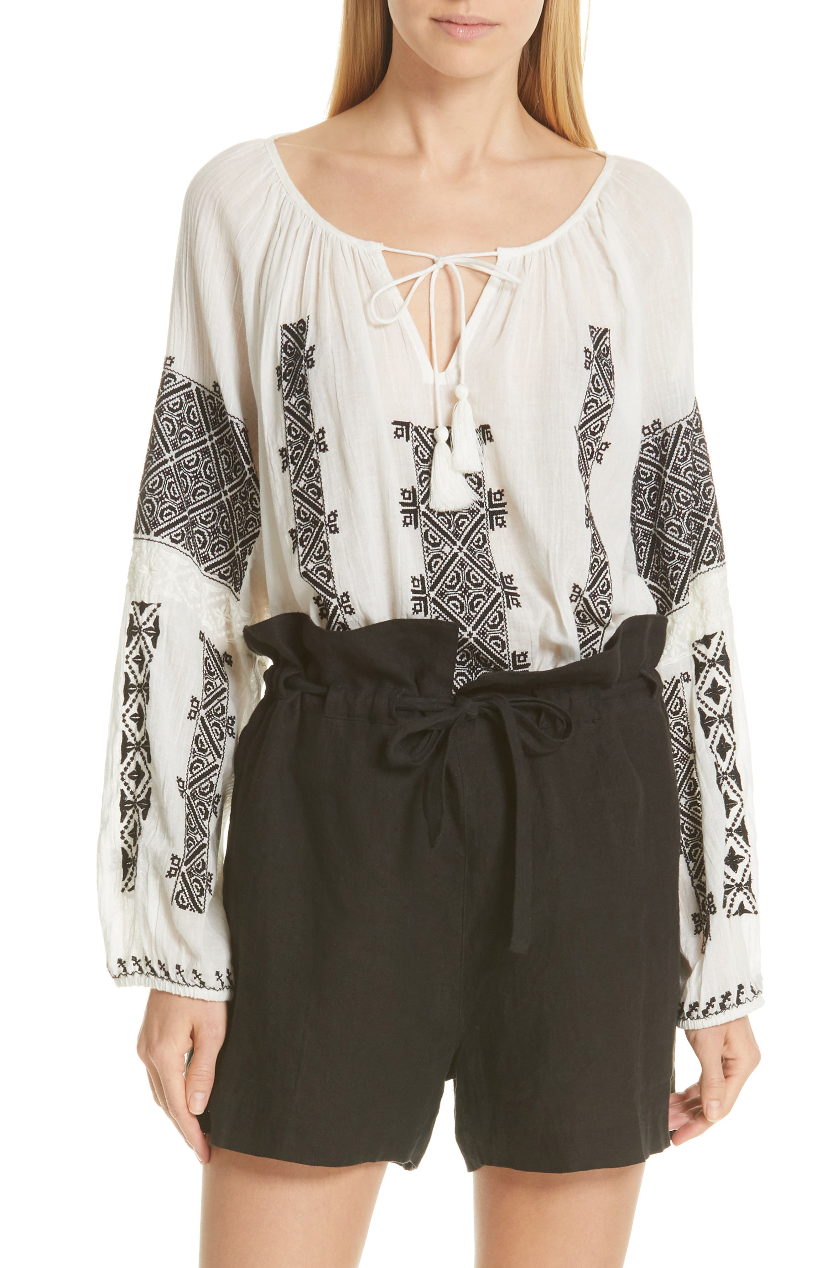 NILI LOTAN Alassio Embroidered Blouse, Main, color, IVORY WITH BLACK EMBROIDERY