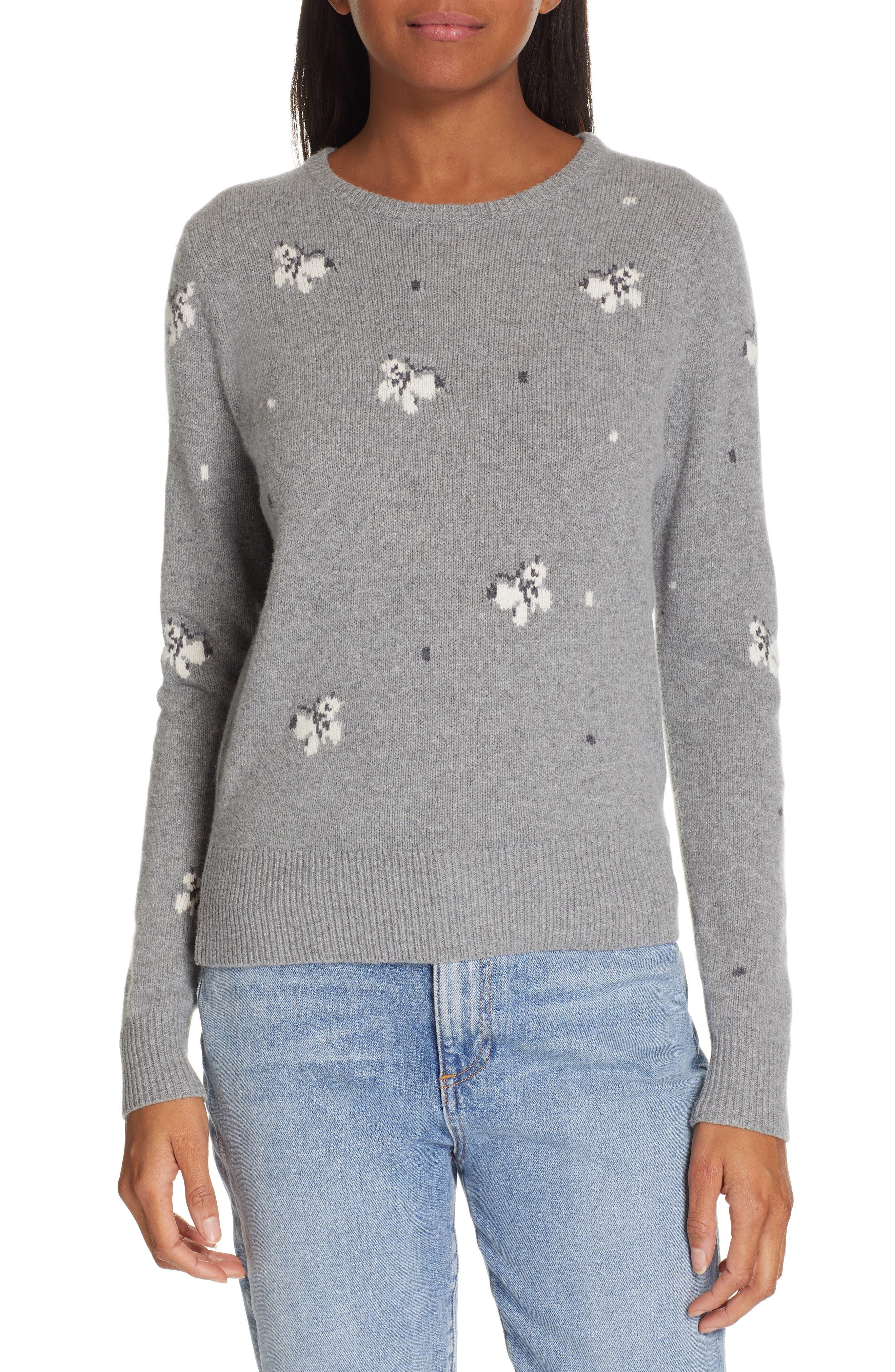 La Vie Rebecca Taylor Butterfly Wool Blend Sweater, Grey