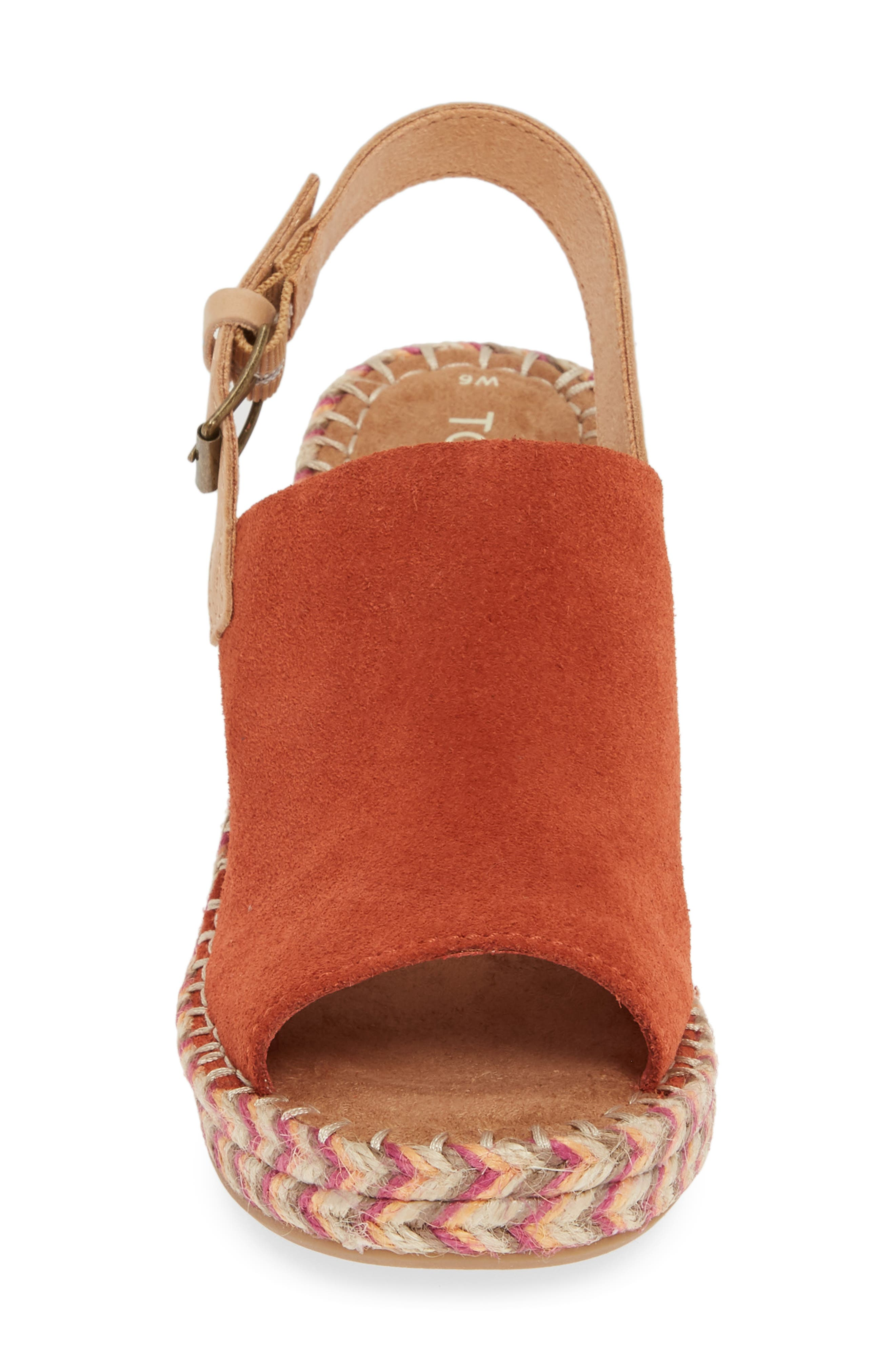 TOMS, Monica Slingback Wedge, Alternate thumbnail 4, color, SPICE SUEDE