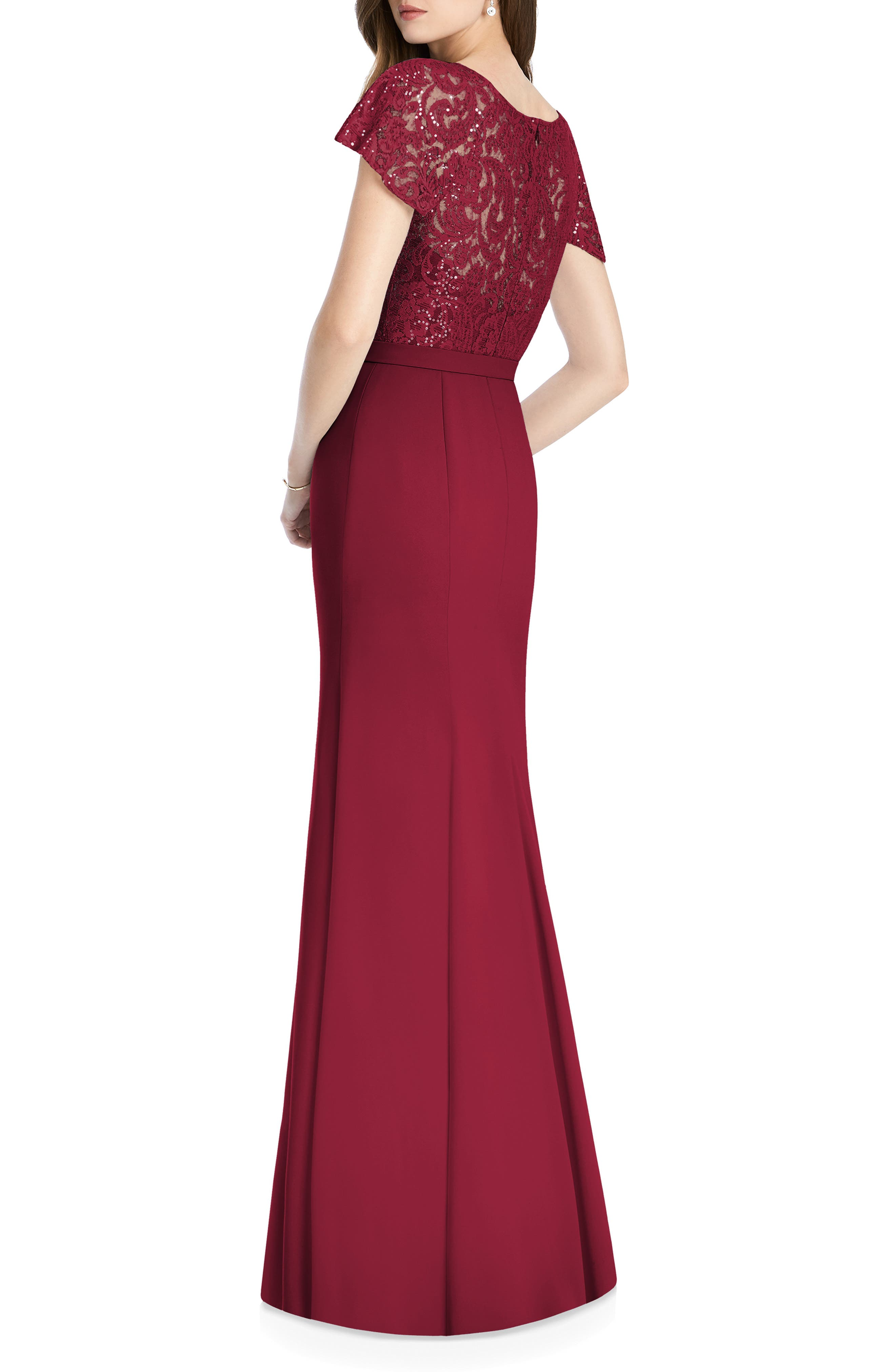 JENNY PACKHAM, Embellished Lace Gown, Alternate thumbnail 2, color, BURGUNDY