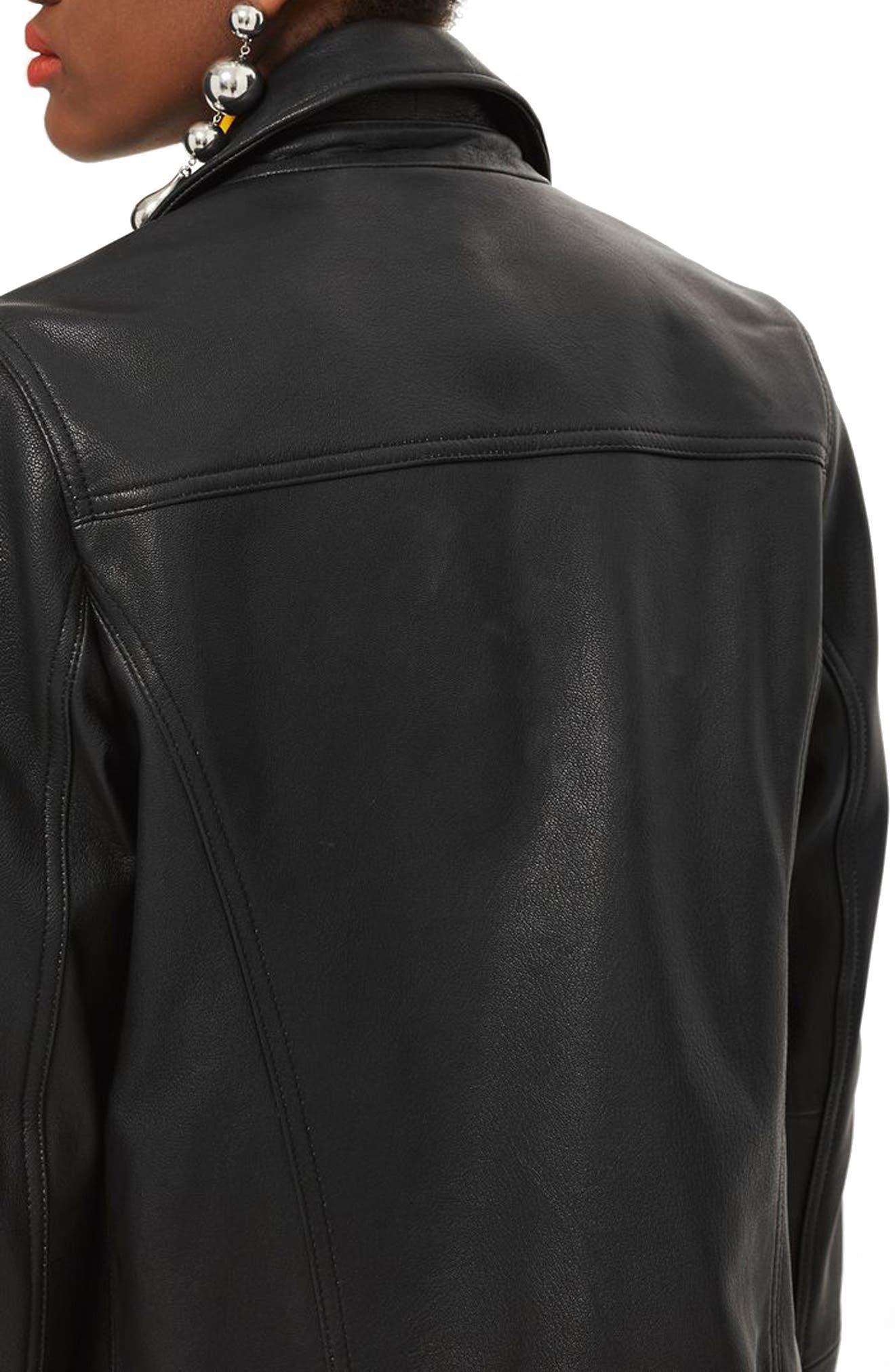 TOPSHOP, Dolly Leather Biker Jacket, Alternate thumbnail 2, color, BLACK