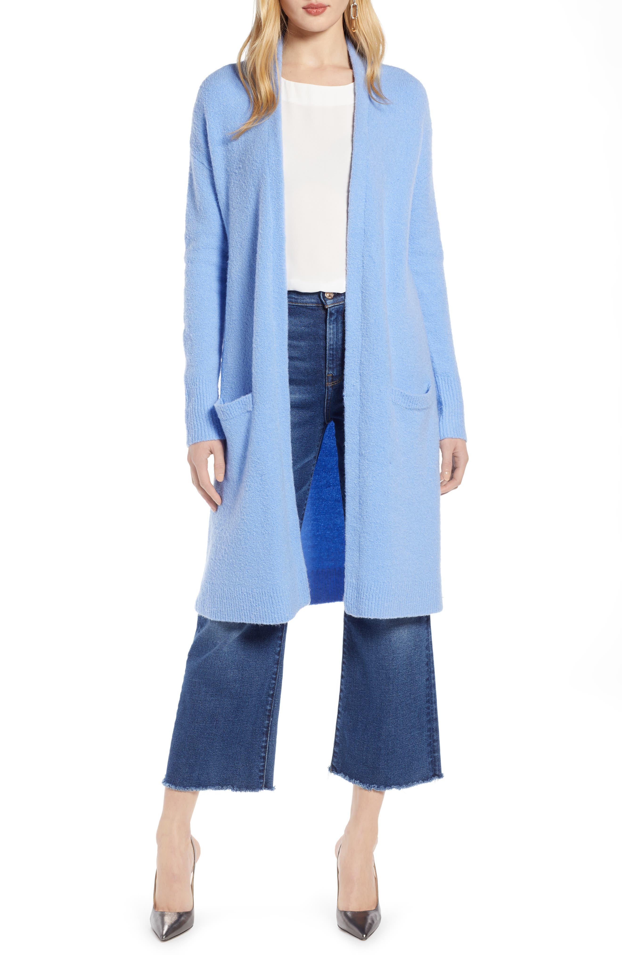 HALOGEN<SUP>®</SUP>, Long Open Front Cardigan, Main thumbnail 1, color, BLUE CORNFLOWER