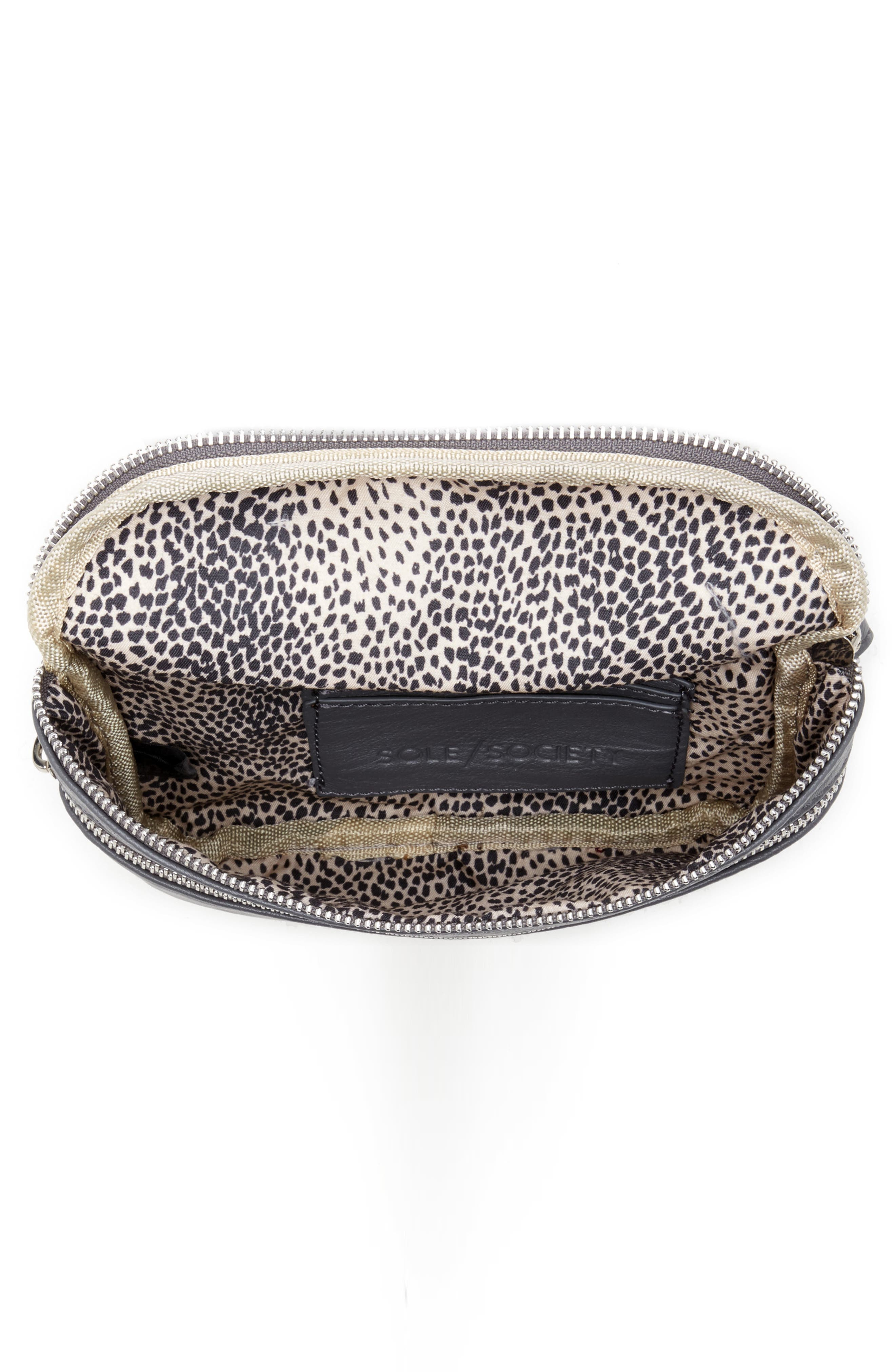 SOLE SOCIETY, Cadee Faux Leather Belt Bag, Alternate thumbnail 4, color, CHARCOAL