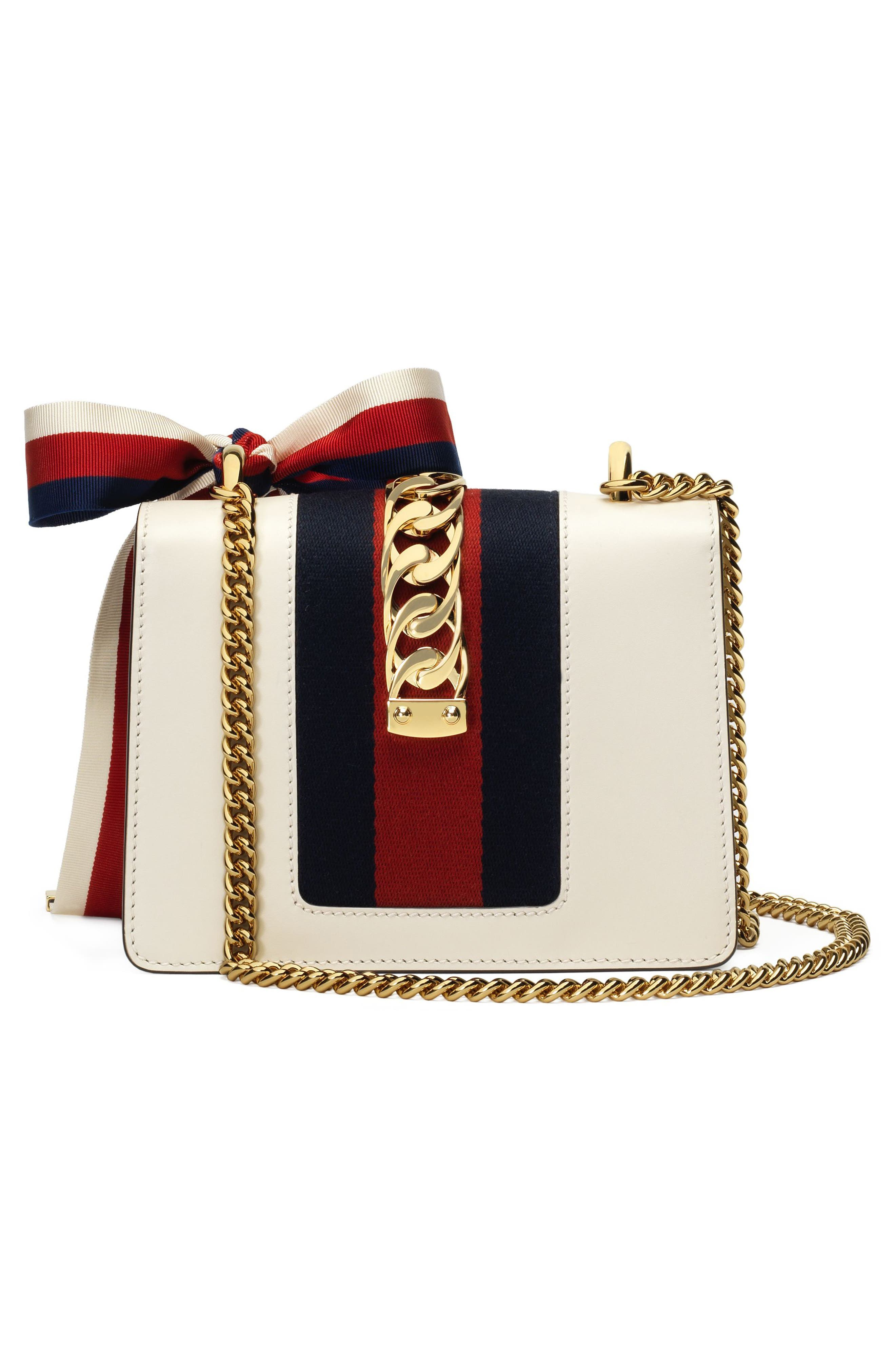 GUCCI, Mini Sylvie Leather Shoulder Bag, Alternate thumbnail 2, color, WHITE/ BLUE/ HIBISCUS RED