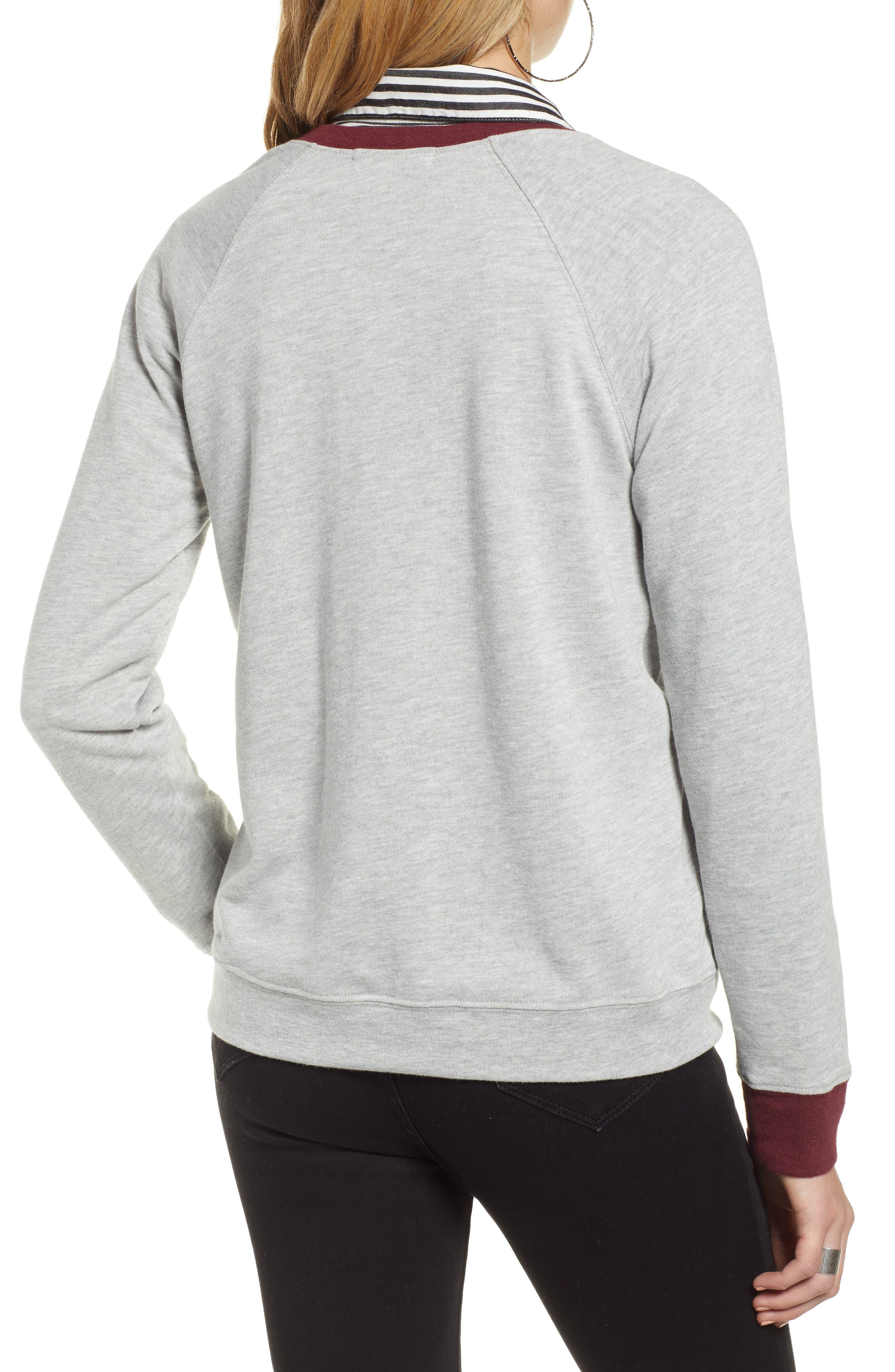TREASURE & BOND, Crewneck Sweatshirt, Alternate thumbnail 2, color, GREY HEATHER- RED TANNIN COMBO