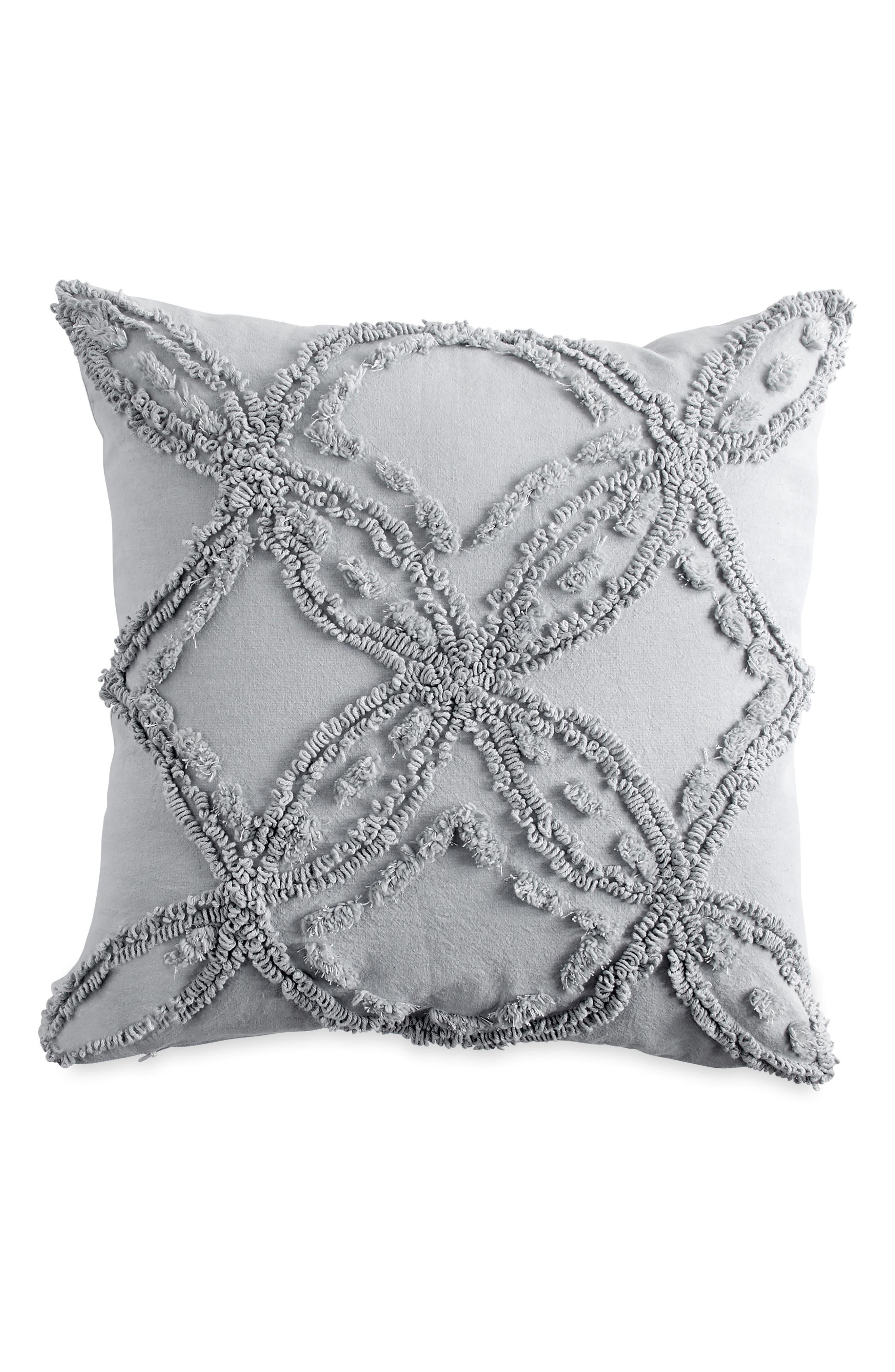 PERI HOME, Chenille Pillow, Main thumbnail 1, color, GREY