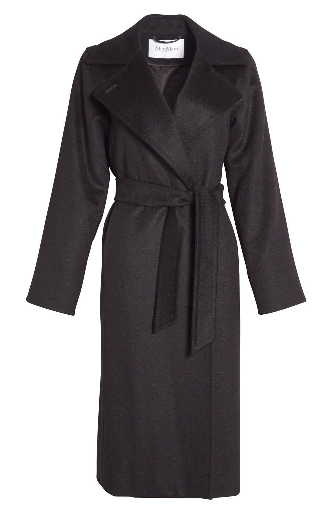MAX MARA, 'Manuela' Camel Hair Coat, Alternate thumbnail 4, color, BLACK