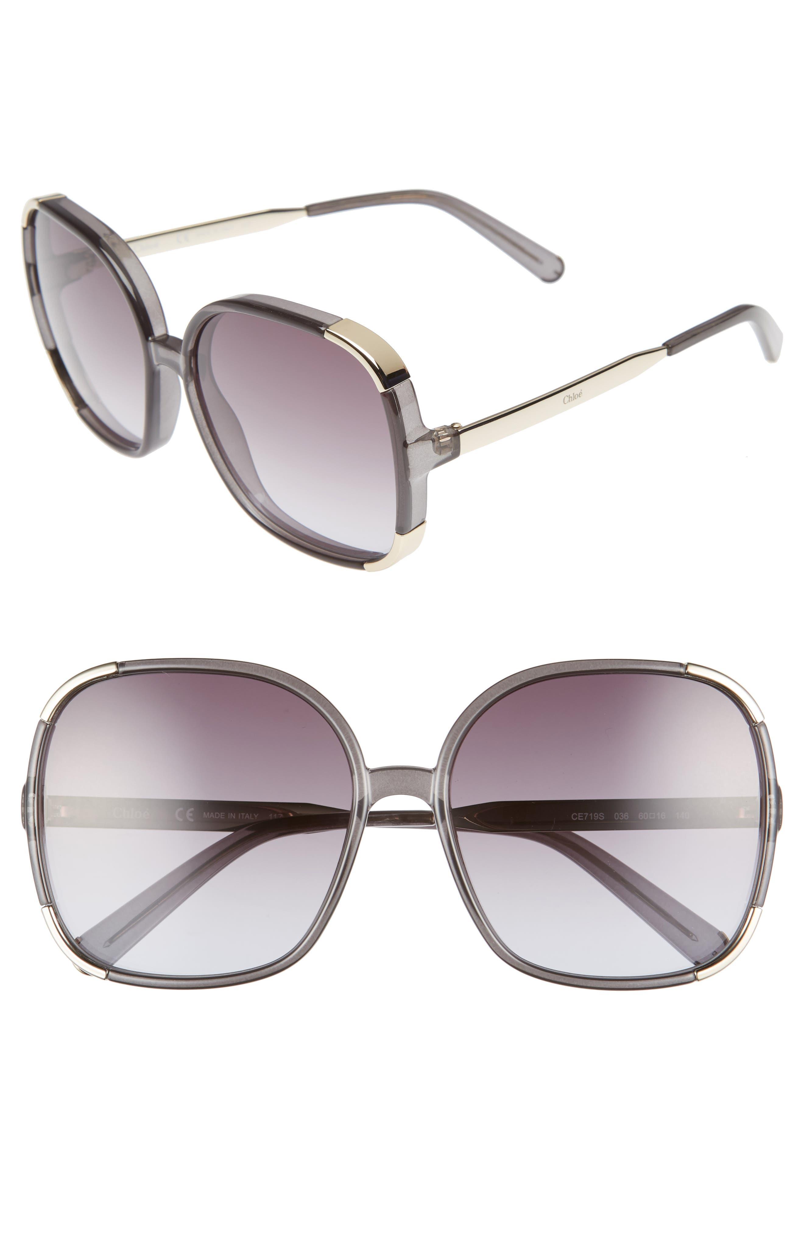 CHLOÉ Myrte 61mm Gradient Lens Square Sunglasses, Main, color, 020