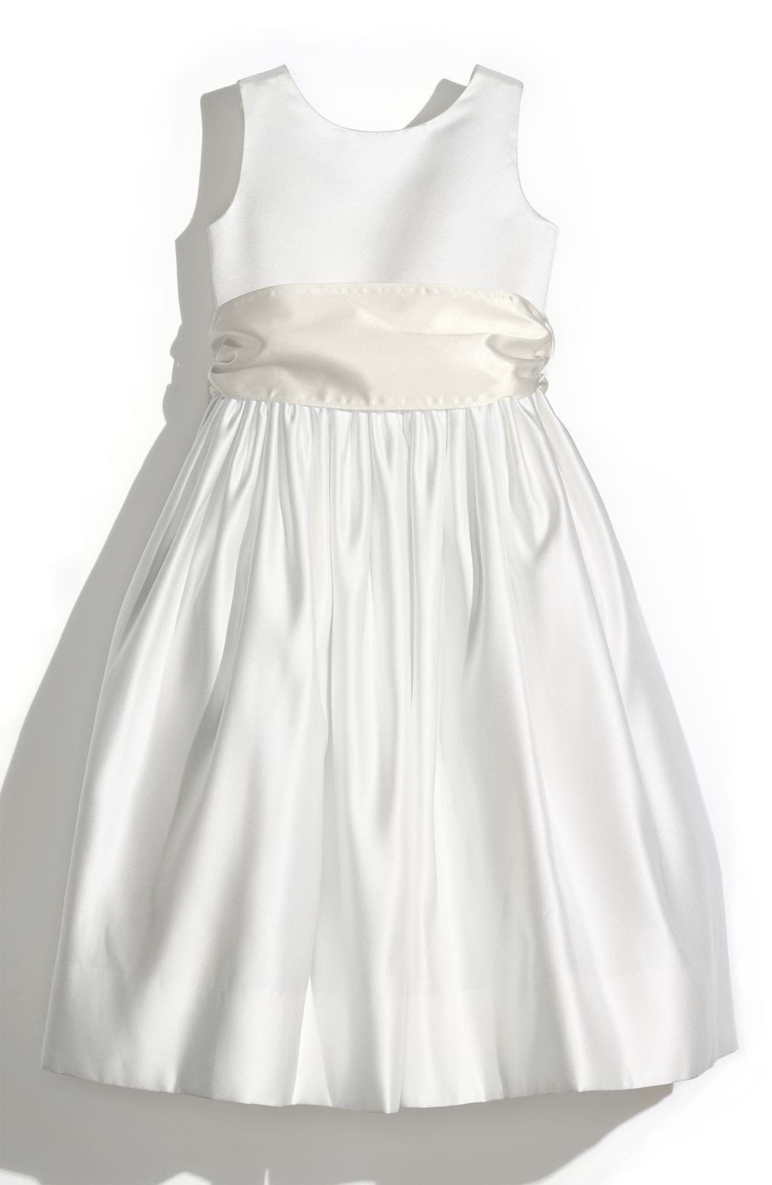 Toddler Girls Us Angels Sleeveless Satin Dress With Contrast Sash Size 4T  Ivory