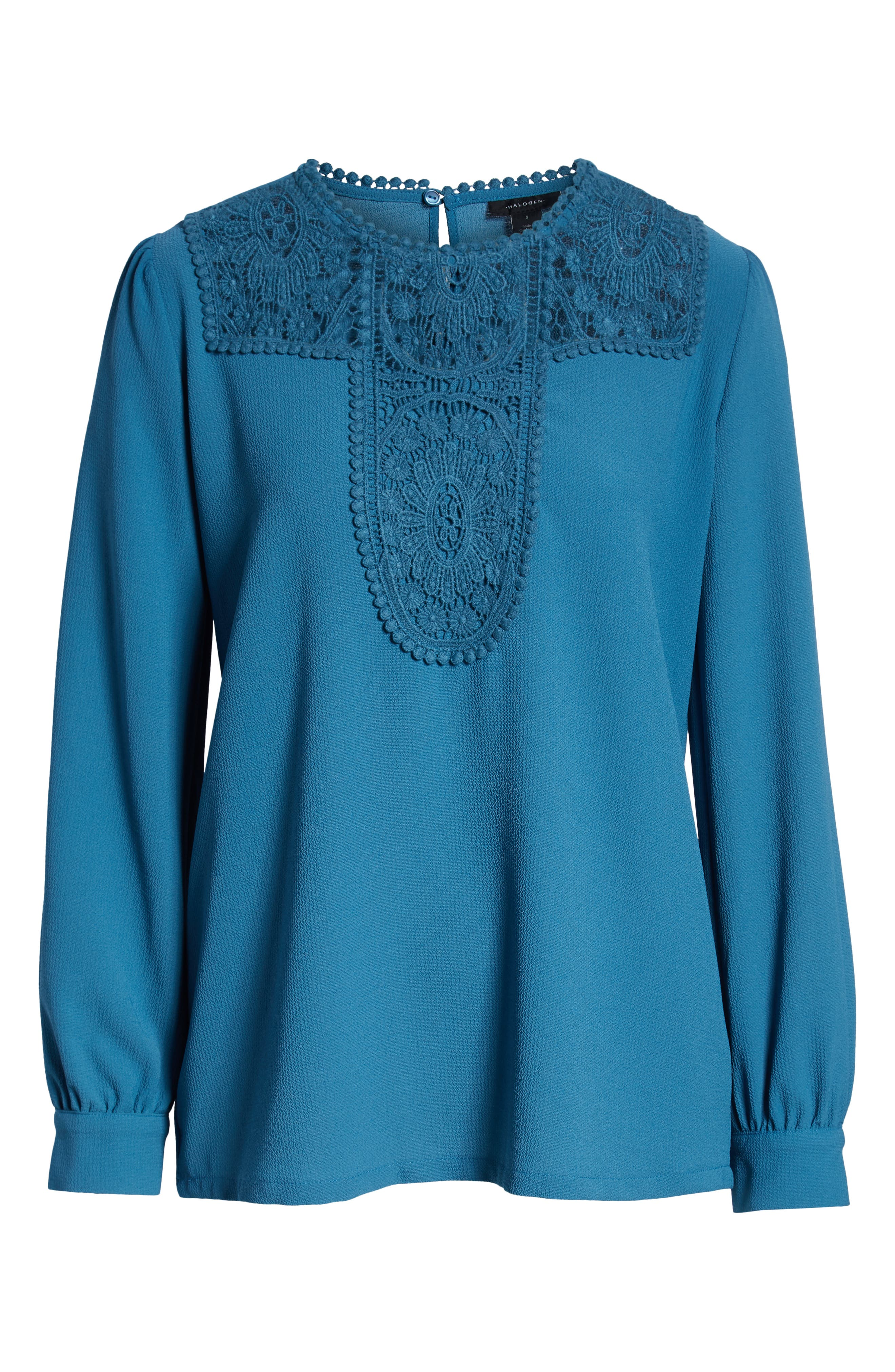 HALOGEN<SUP>®</SUP>, Lace & Crepe Blouse, Alternate thumbnail 6, color, DARK TEAL