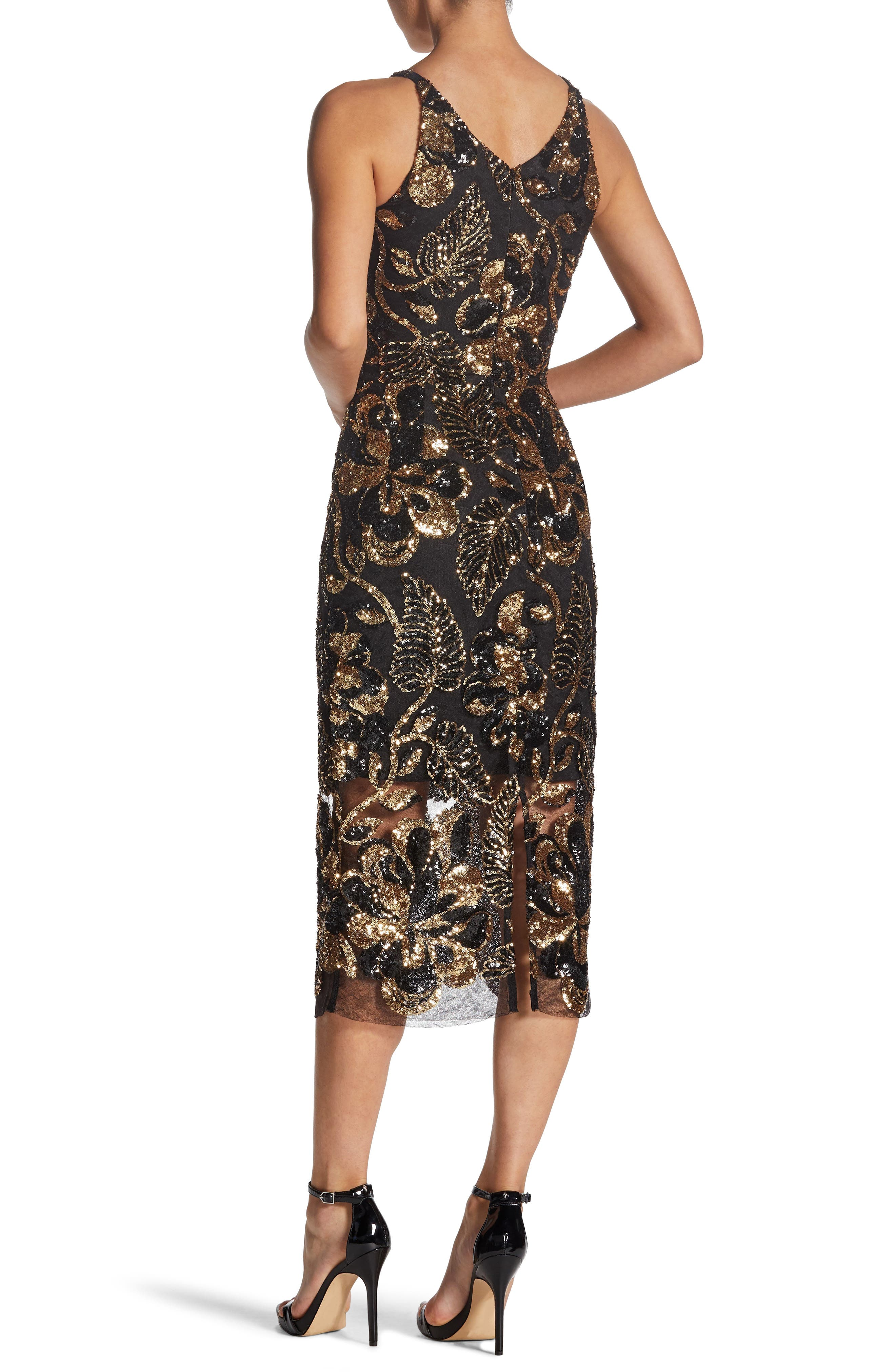 DRESS THE POPULATION, Margo Plunge Neck Sequin Dress, Alternate thumbnail 2, color, 715