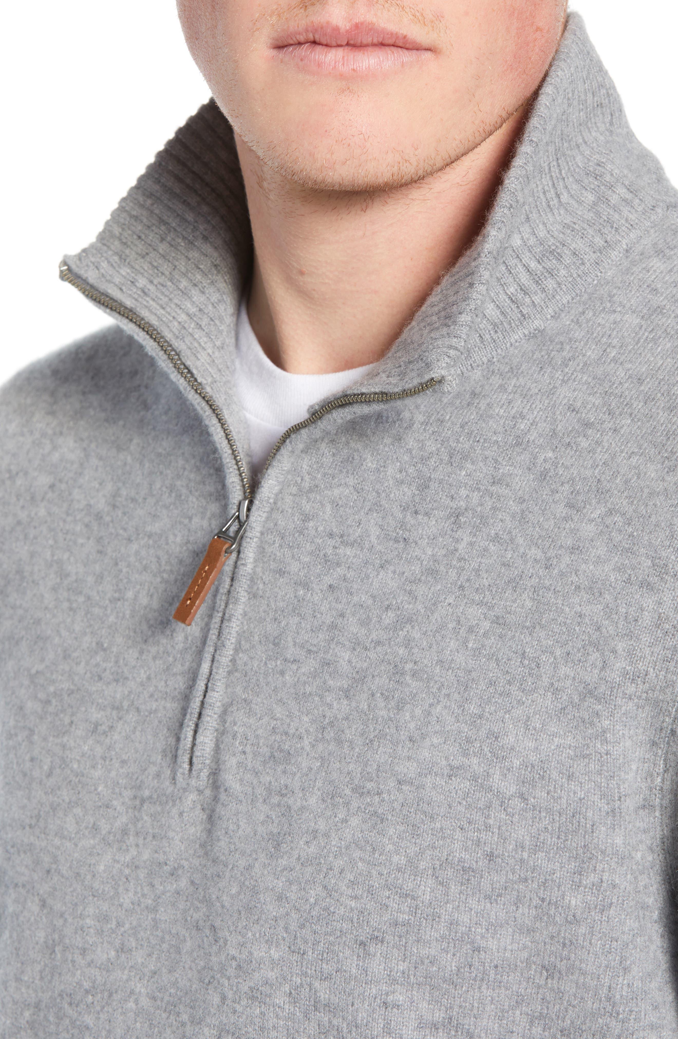 NORDSTROM MEN'S SHOP, Regular Fit Cashmere Quarter Zip Pullover, Alternate thumbnail 4, color, GREY DRIFTWOOD