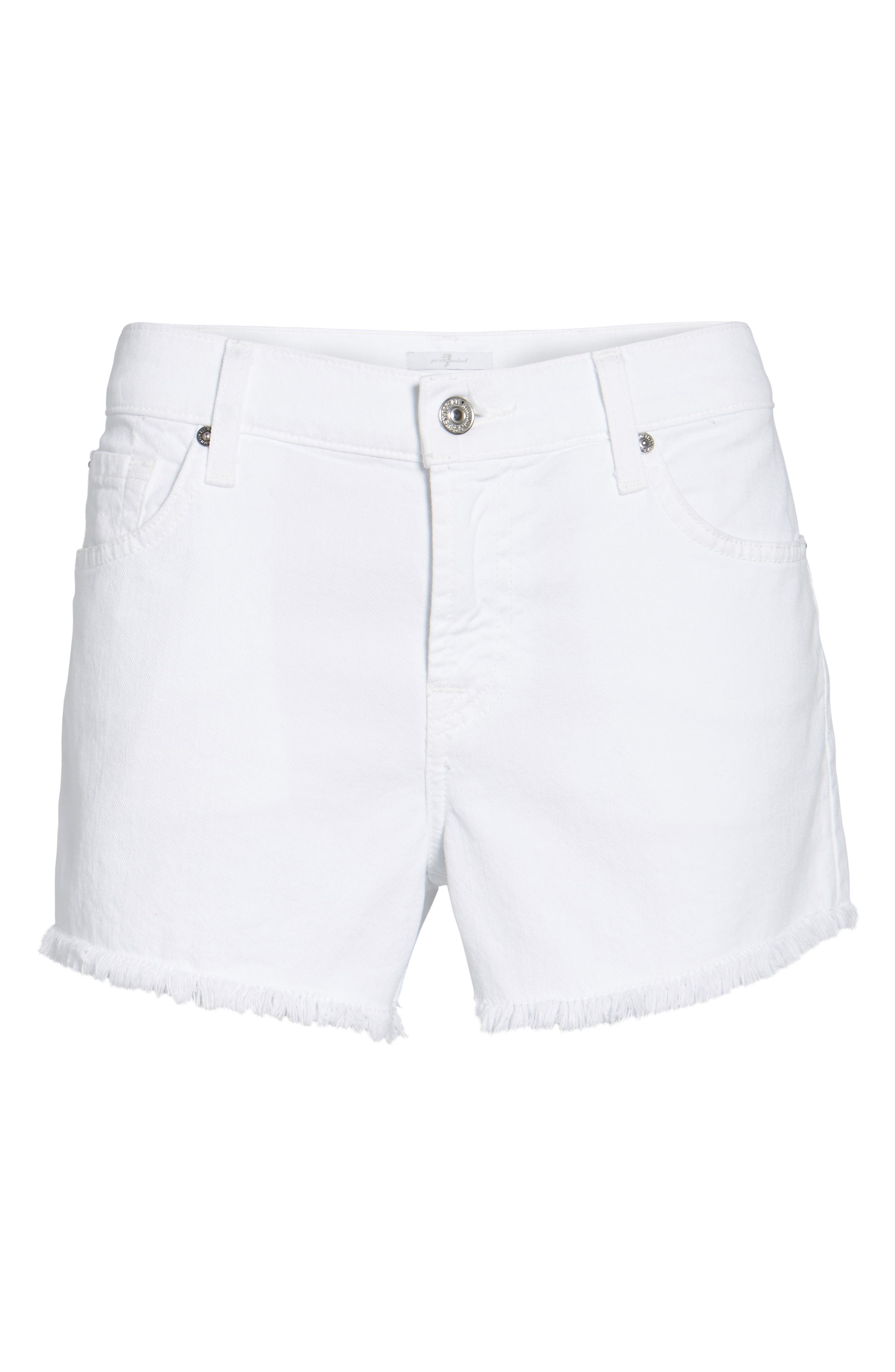 7 FOR ALL MANKIND<SUP>®</SUP>, Cutoff Denim Shorts, Alternate thumbnail 7, color, CLEAN WHITE