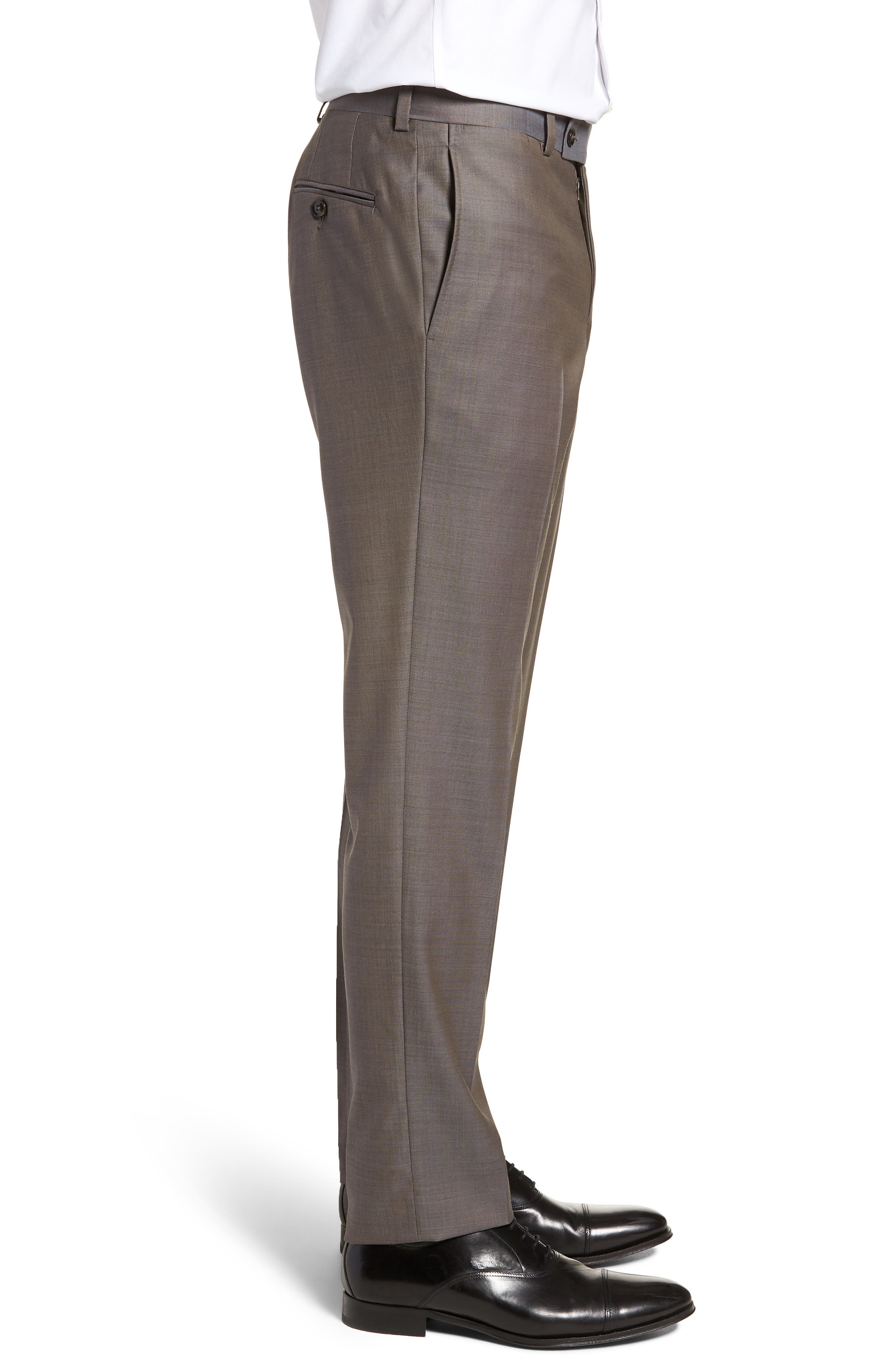 TED BAKER LONDON, Jefferson Flat Front Wool Trousers, Alternate thumbnail 3, color, MID GREY