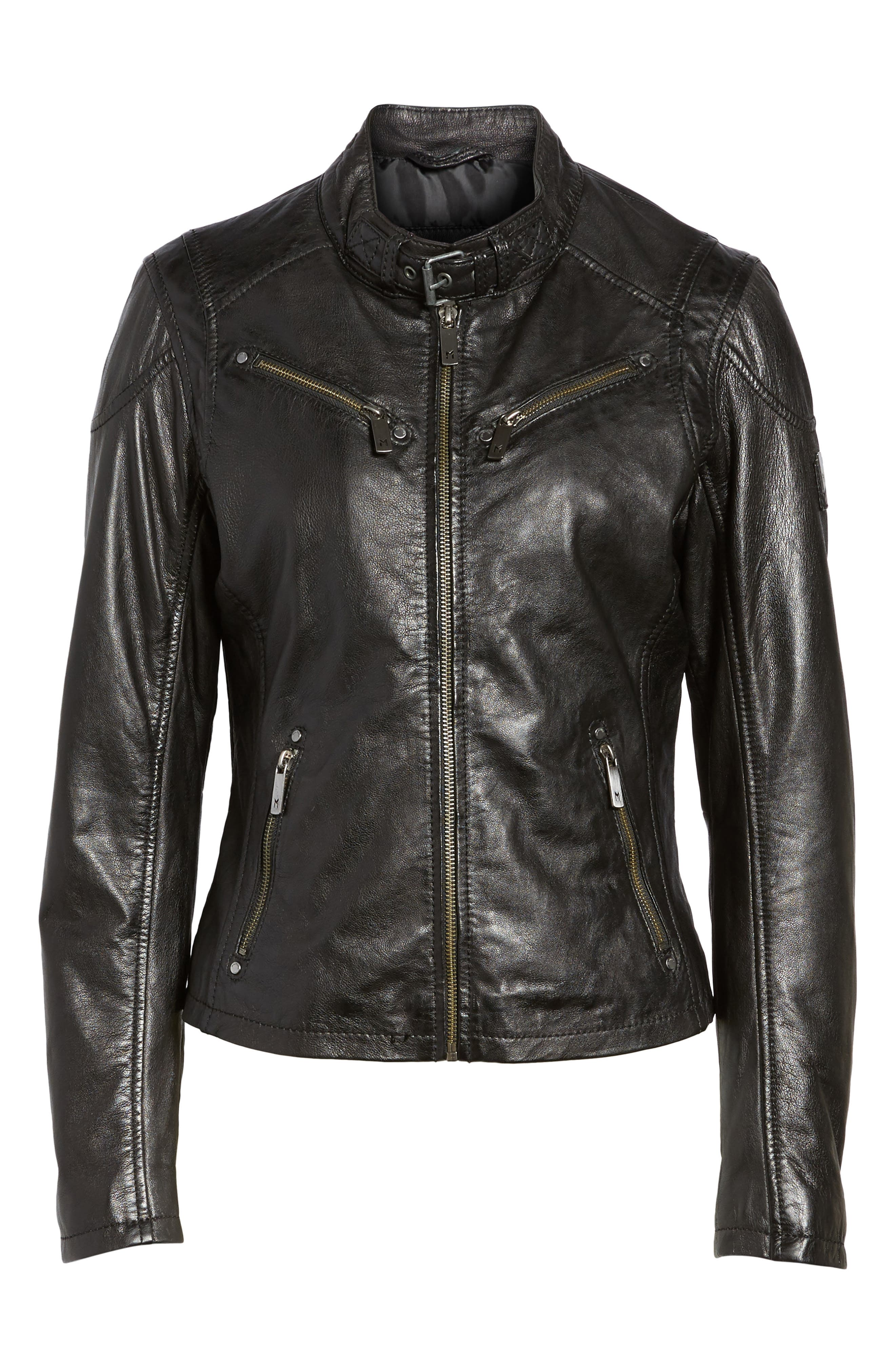 MAURITIUS, Leather Lambskin Leather Moto Jacket, Alternate thumbnail 5, color, 001