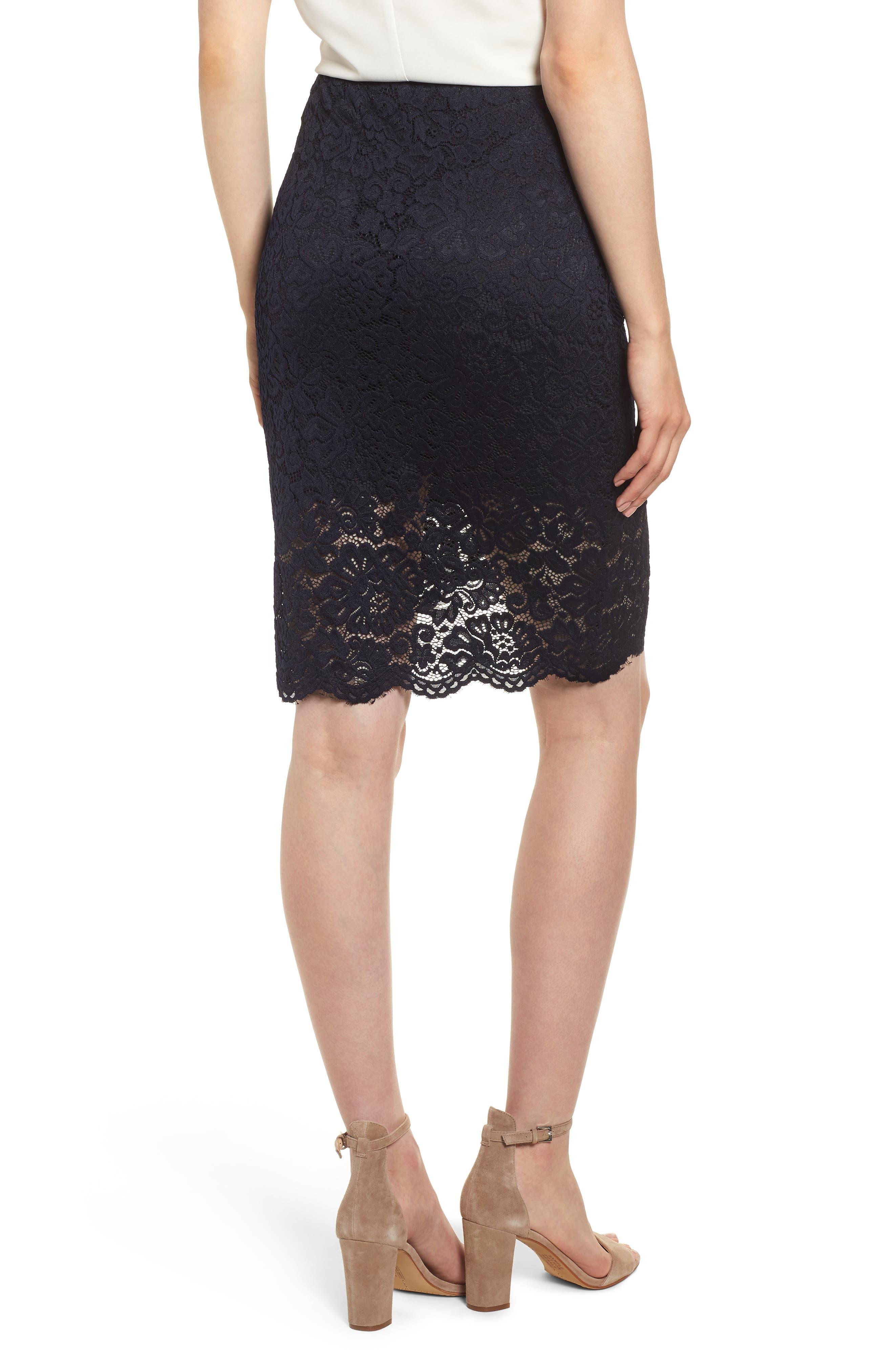 ROSEMUNDE, Lace Pencil Skirt, Alternate thumbnail 2, color, 001
