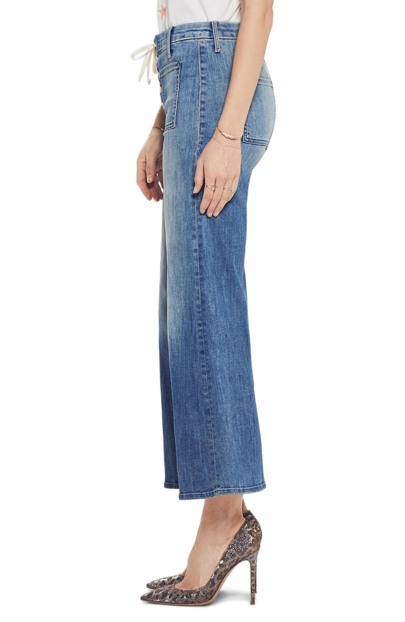 MOTHER, The Lace Up Crop Flare Jeans, Alternate thumbnail 3, color, WHERE THERES SMOKE