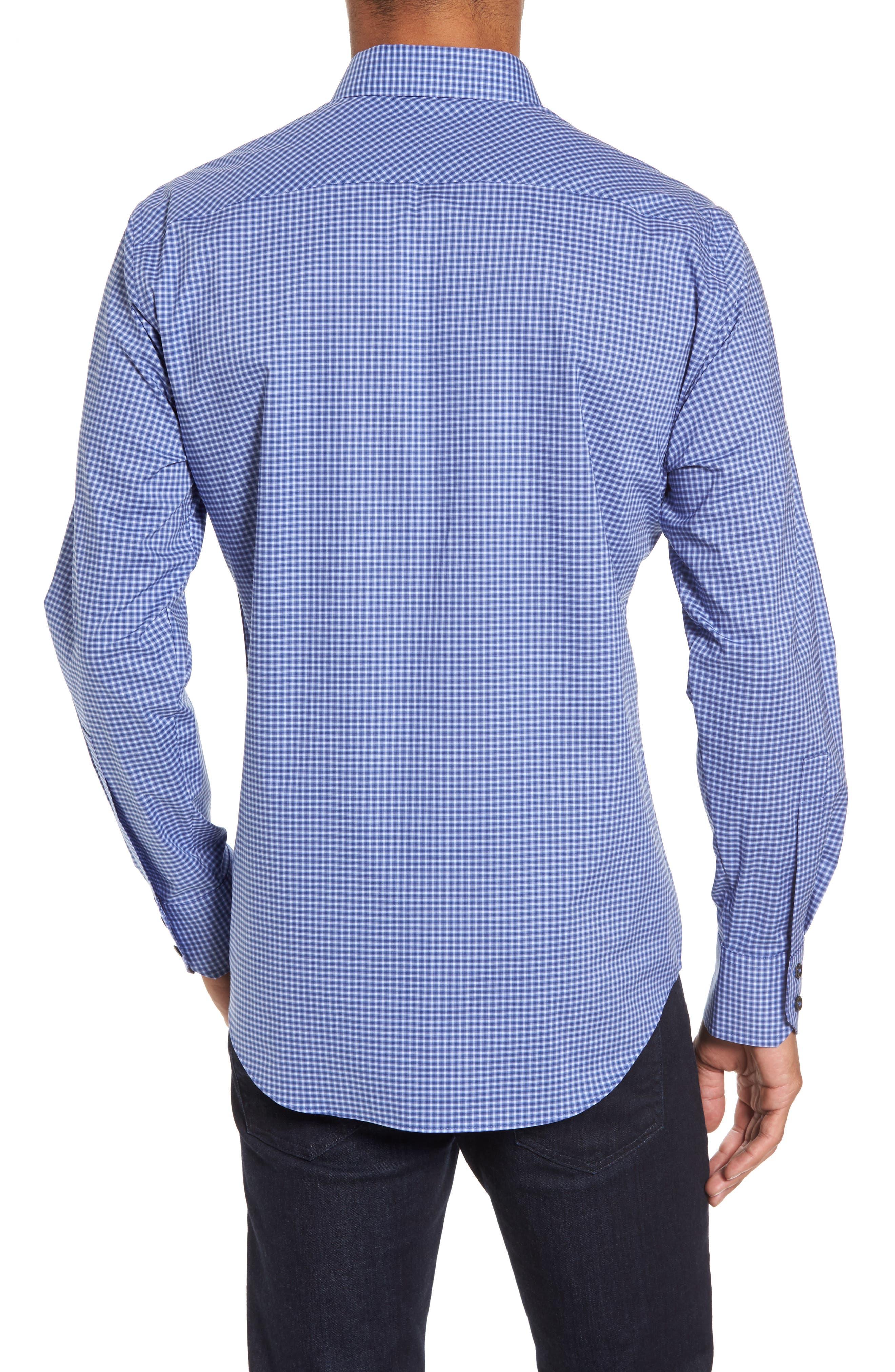 ZACHARY PRELL, Ramon Regular Fit Mini Check Sport Shirt, Alternate thumbnail 2, color, BLUE