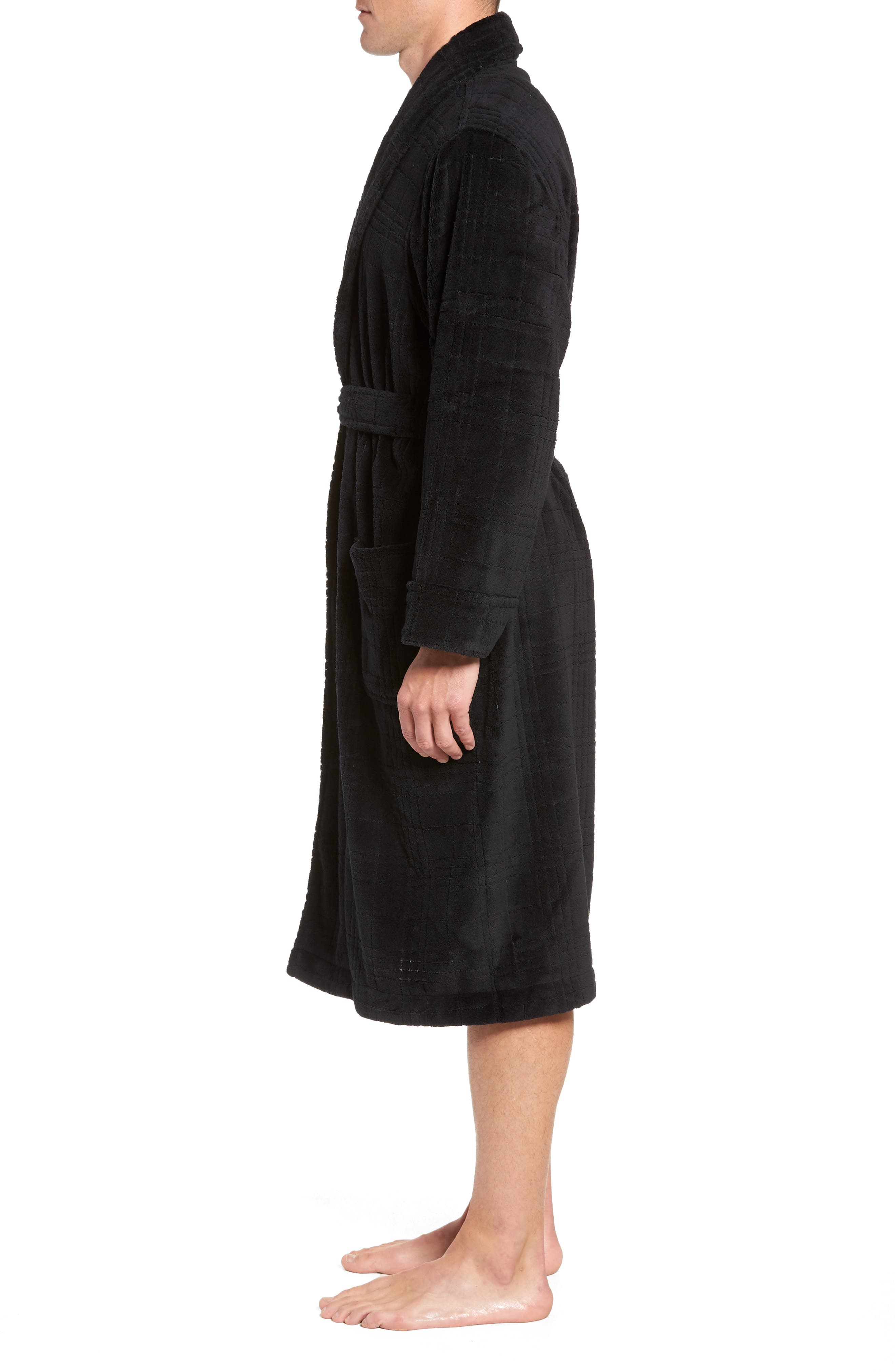 NORDSTROM MEN'S SHOP, Shadow Plaid Fleece Robe, Alternate thumbnail 3, color, BLACK