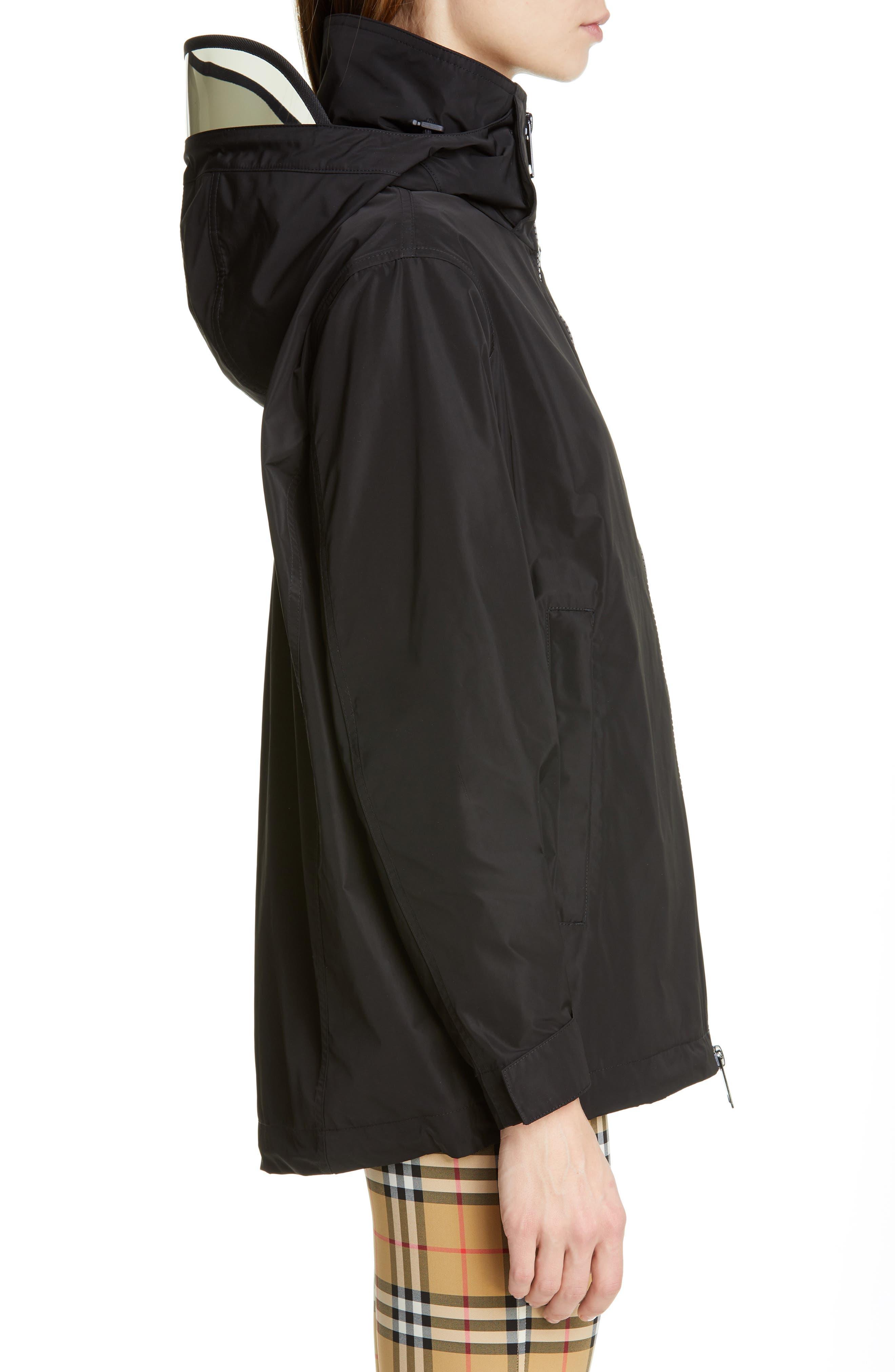 BURBERRY, Kway Millport Logo Print Waterproof Taffeta Jacket, Alternate thumbnail 4, color, BLACK