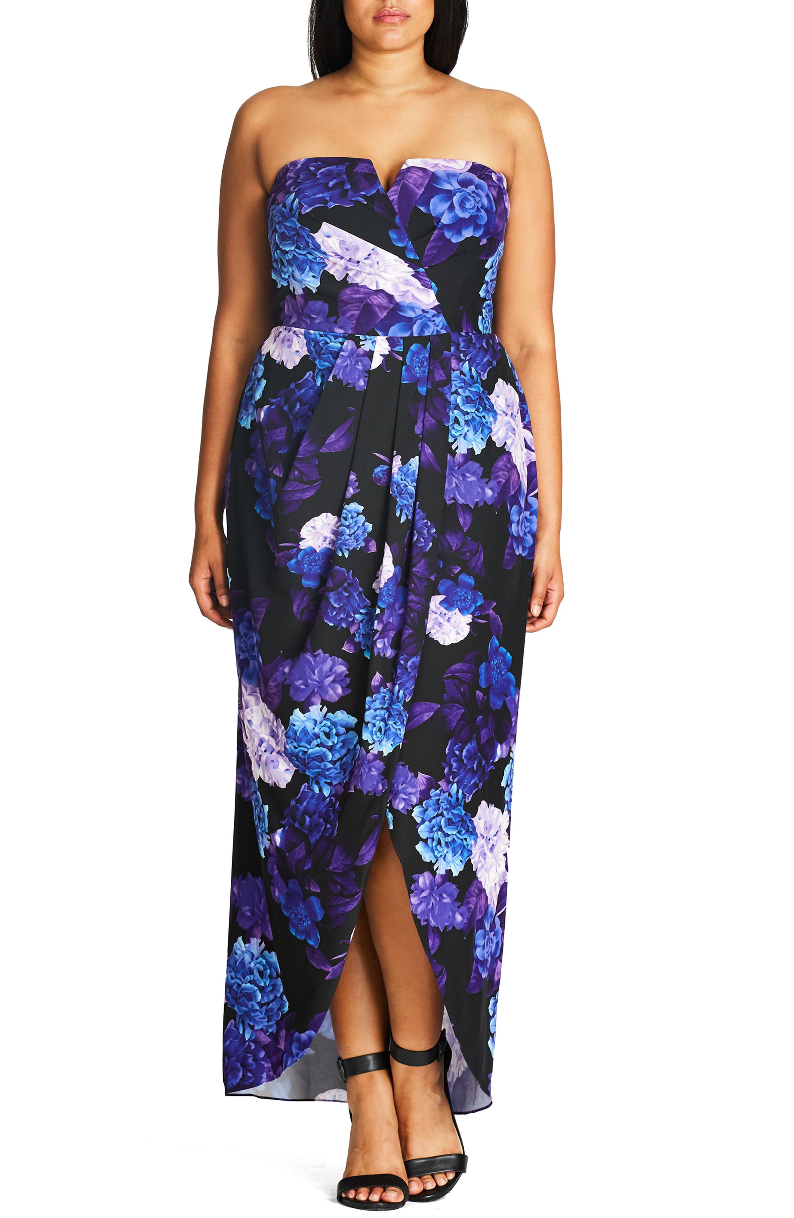 CITY CHIC, Hydrangea Print Maxi Dress, Alternate thumbnail 3, color, BLACK