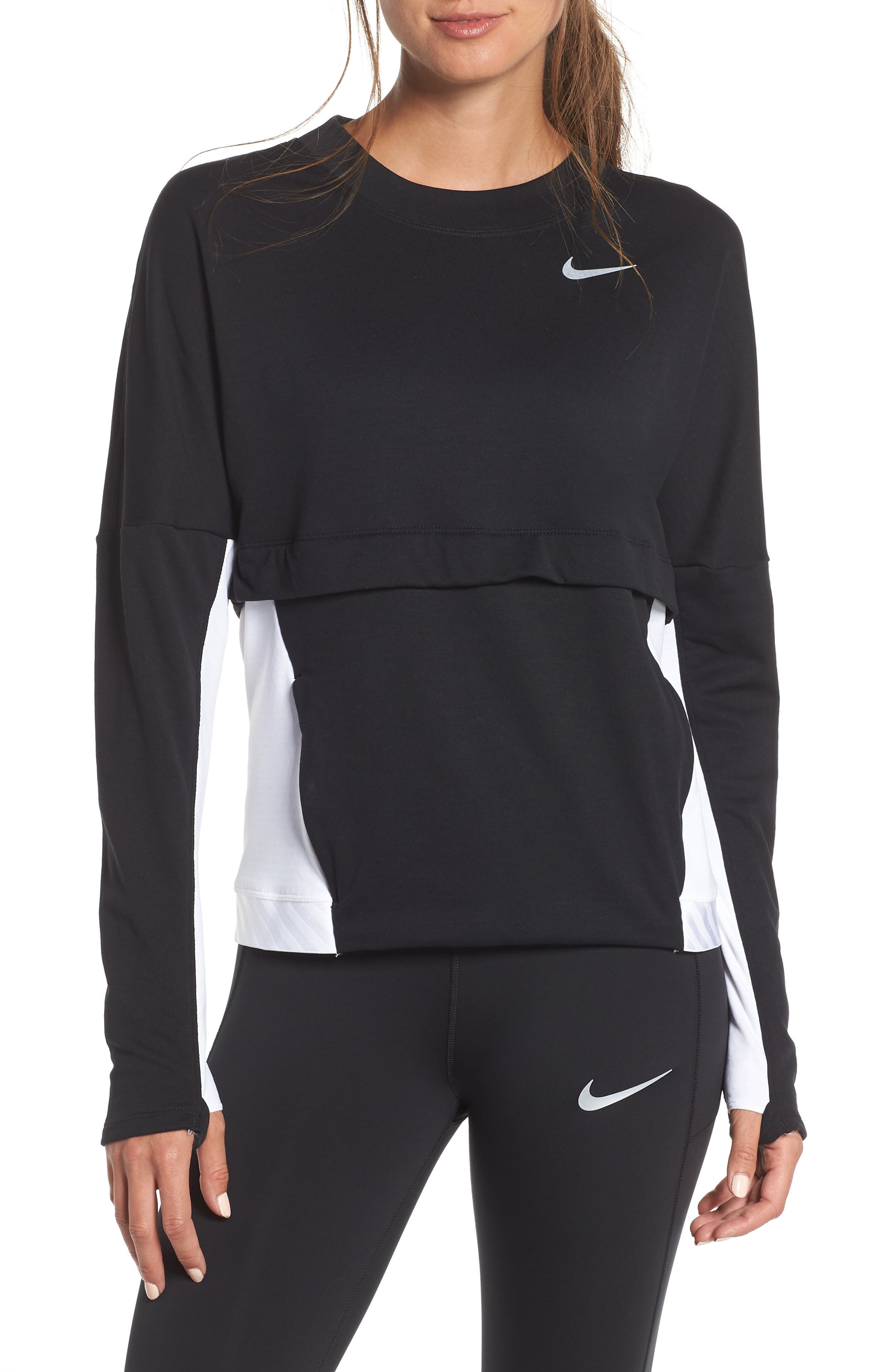 NIKE Therma Sphere Training Top, Main, color, BLACK/ WHITE/ BLACK/ SILVER