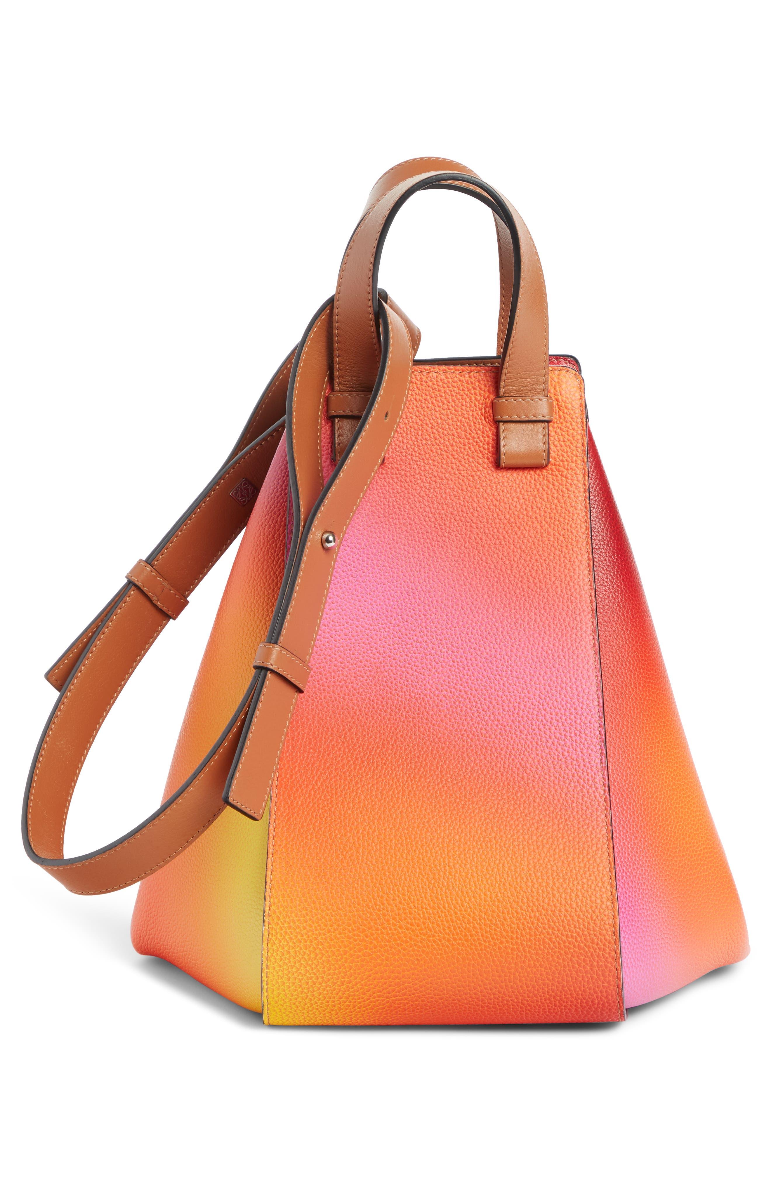 LOEWE, Medium Ombré Leather Hobo, Alternate thumbnail 3, color, ORANGE SUNSET