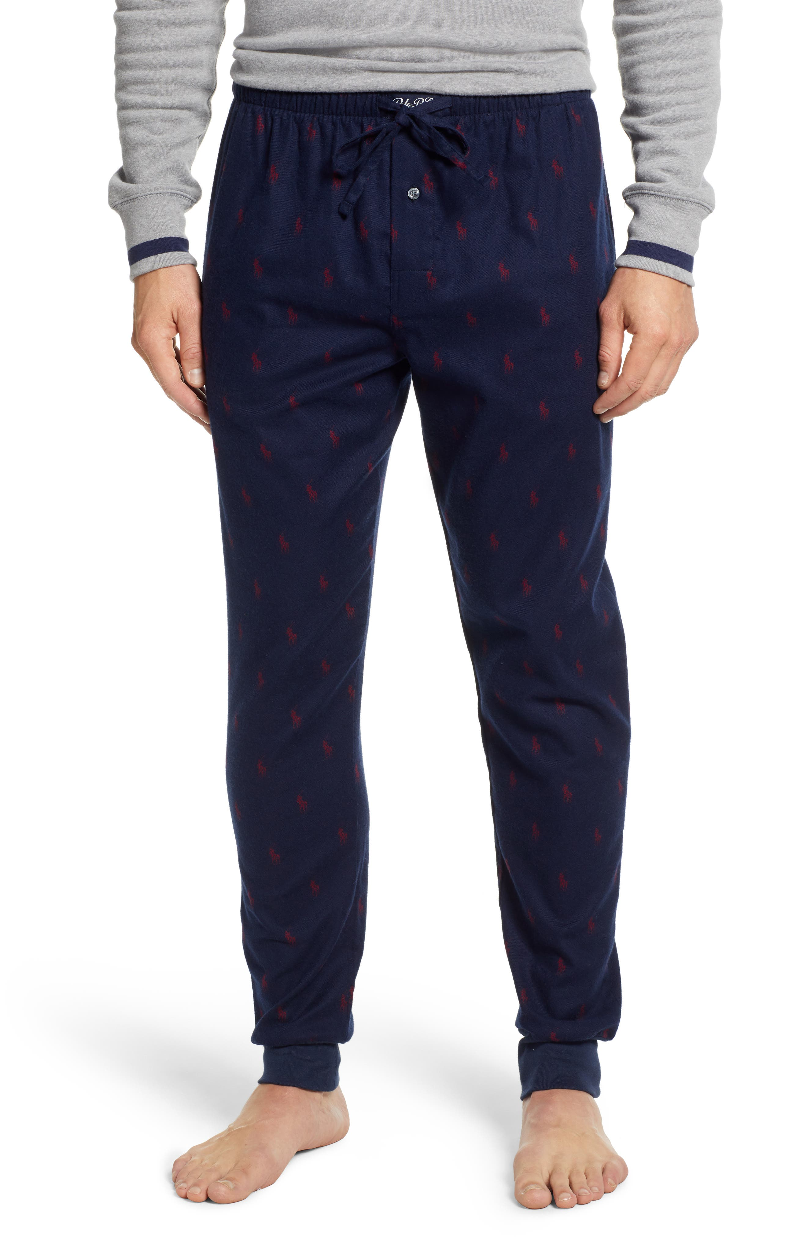 POLO RALPH LAUREN, Flannel Cotton Jogger Pants, Main thumbnail 1, color, CRUISE NAVY/ HOLIDAY RED