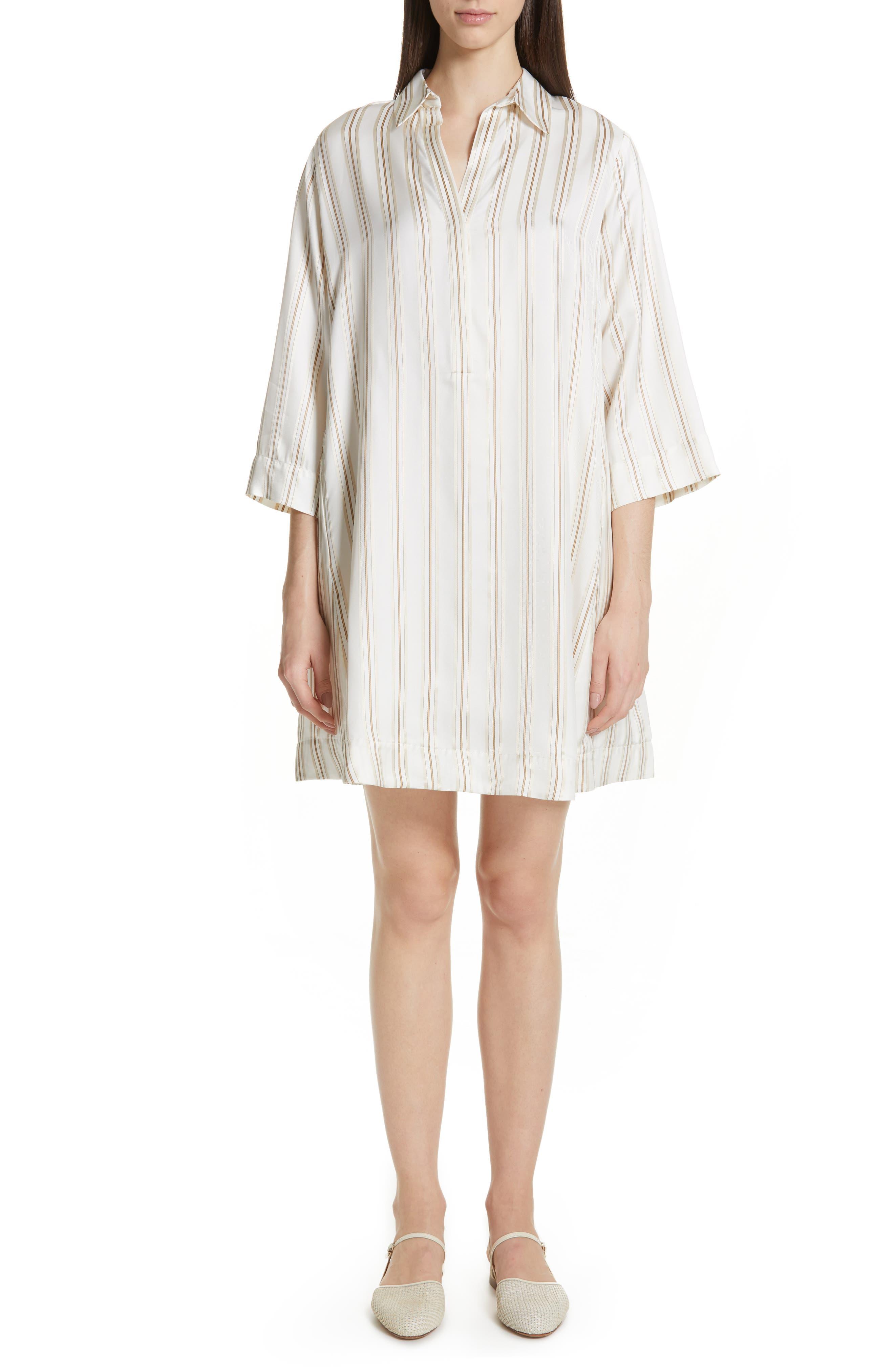 Co Stripe Tunic Dress, White