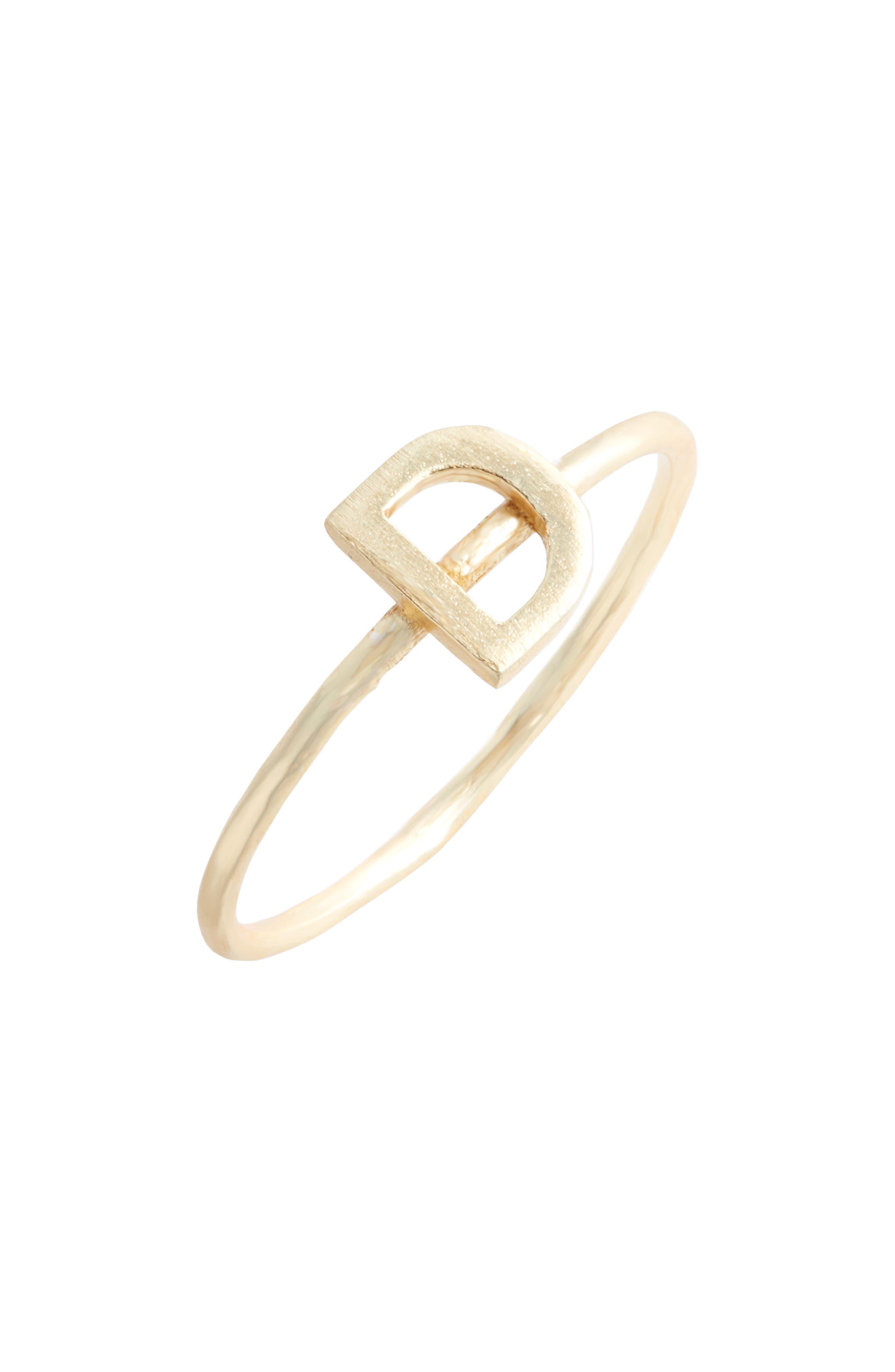 COLLECTIONS BY JOYA, Alphabet Ring, Main thumbnail 1, color, D/ GOLD