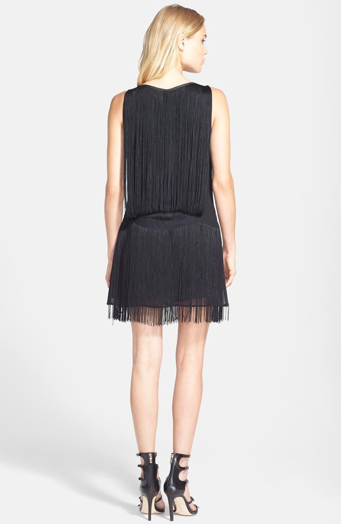 FILTRE, Tassel Embellished Shift Dress, Alternate thumbnail 3, color, 001