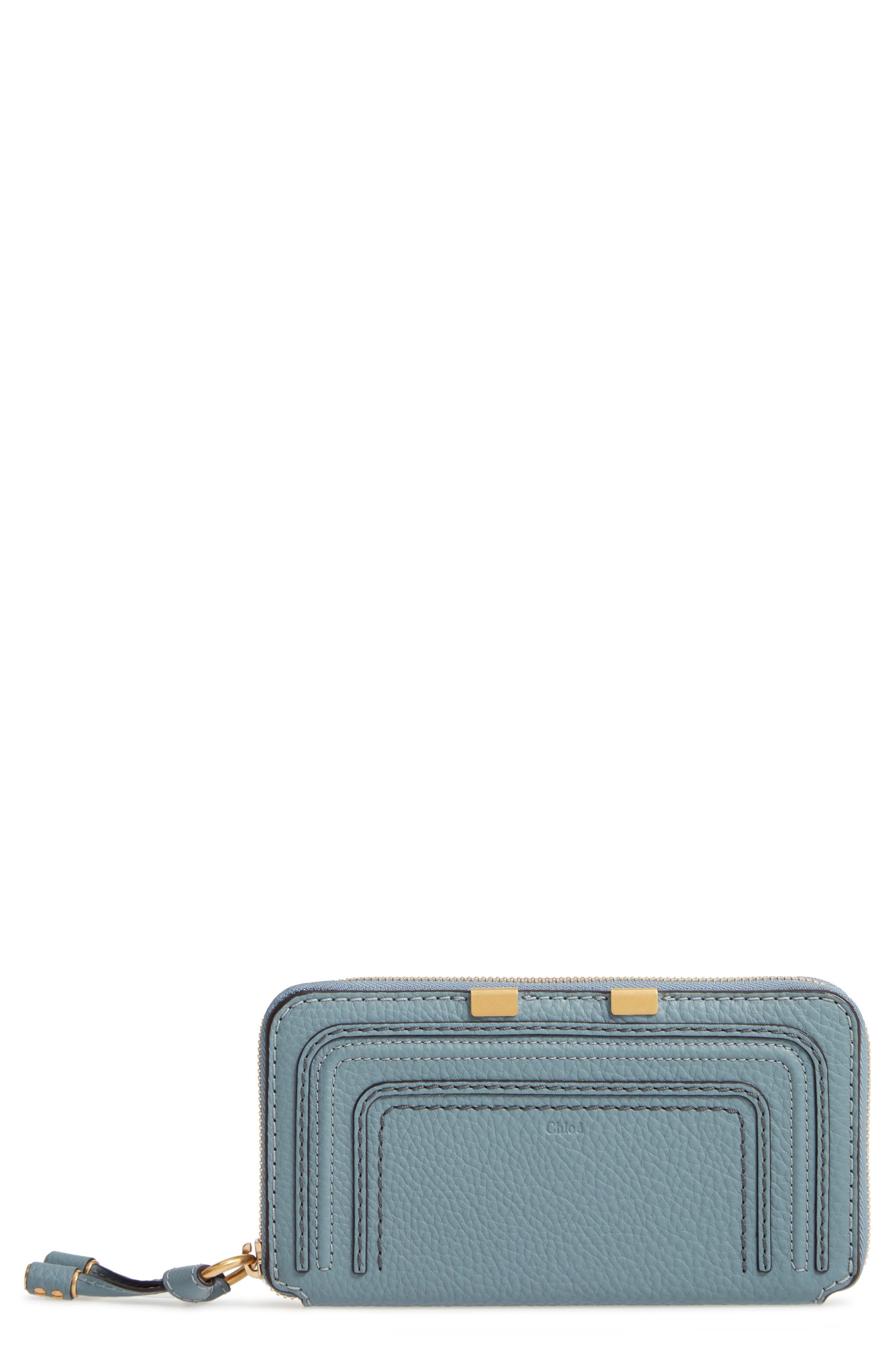 CHLOÉ, 'Marcie - Long' Zip Around Wallet, Main thumbnail 1, color, CLOUDY BLUE