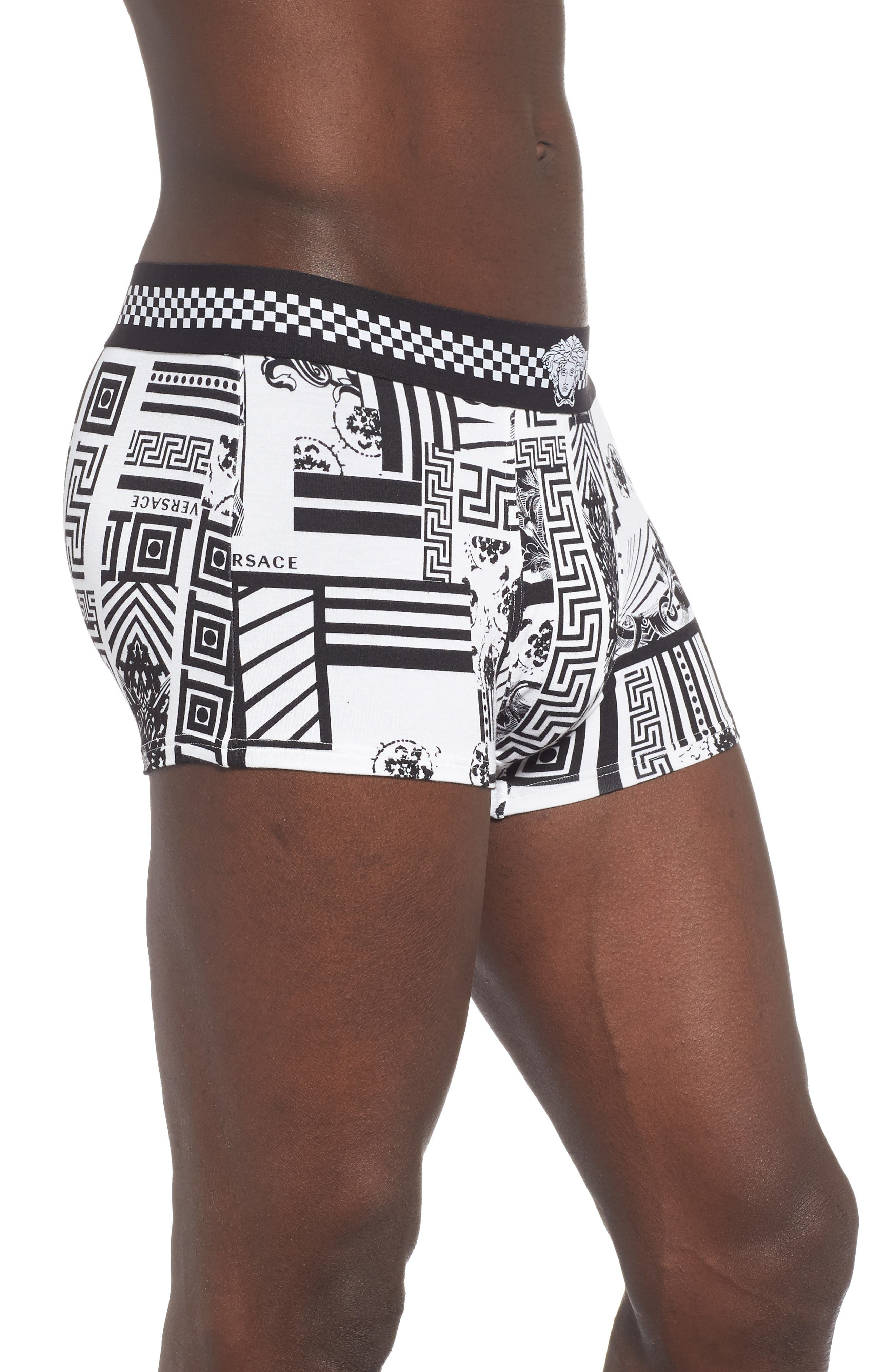 VERSACE COLLECTION, Low Rise Trunks, Alternate thumbnail 3, color, BLACK/ WHITE