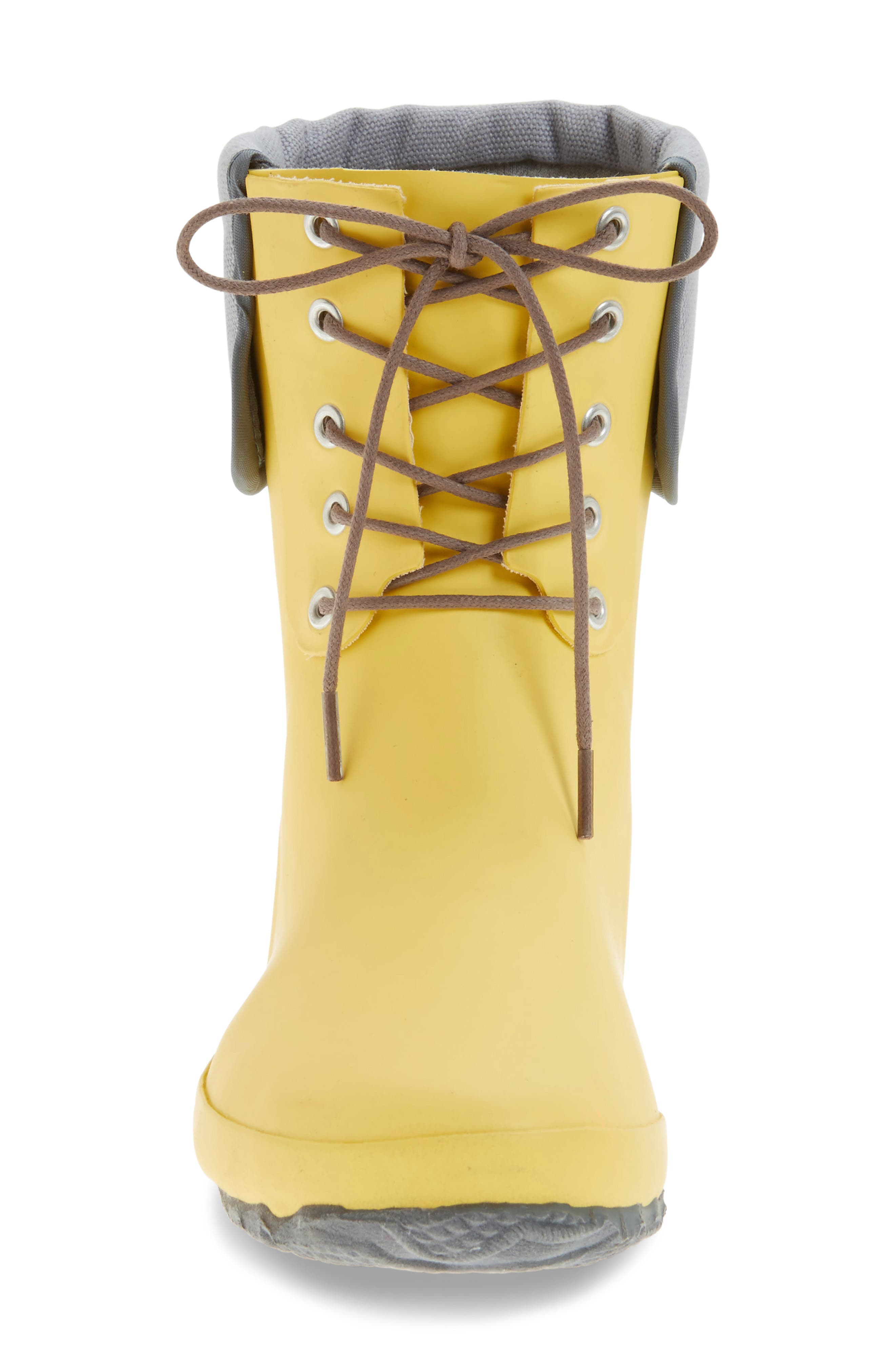 DÄV, Lace-Up Mid Weatherproof Boot, Alternate thumbnail 3, color, YELLOW