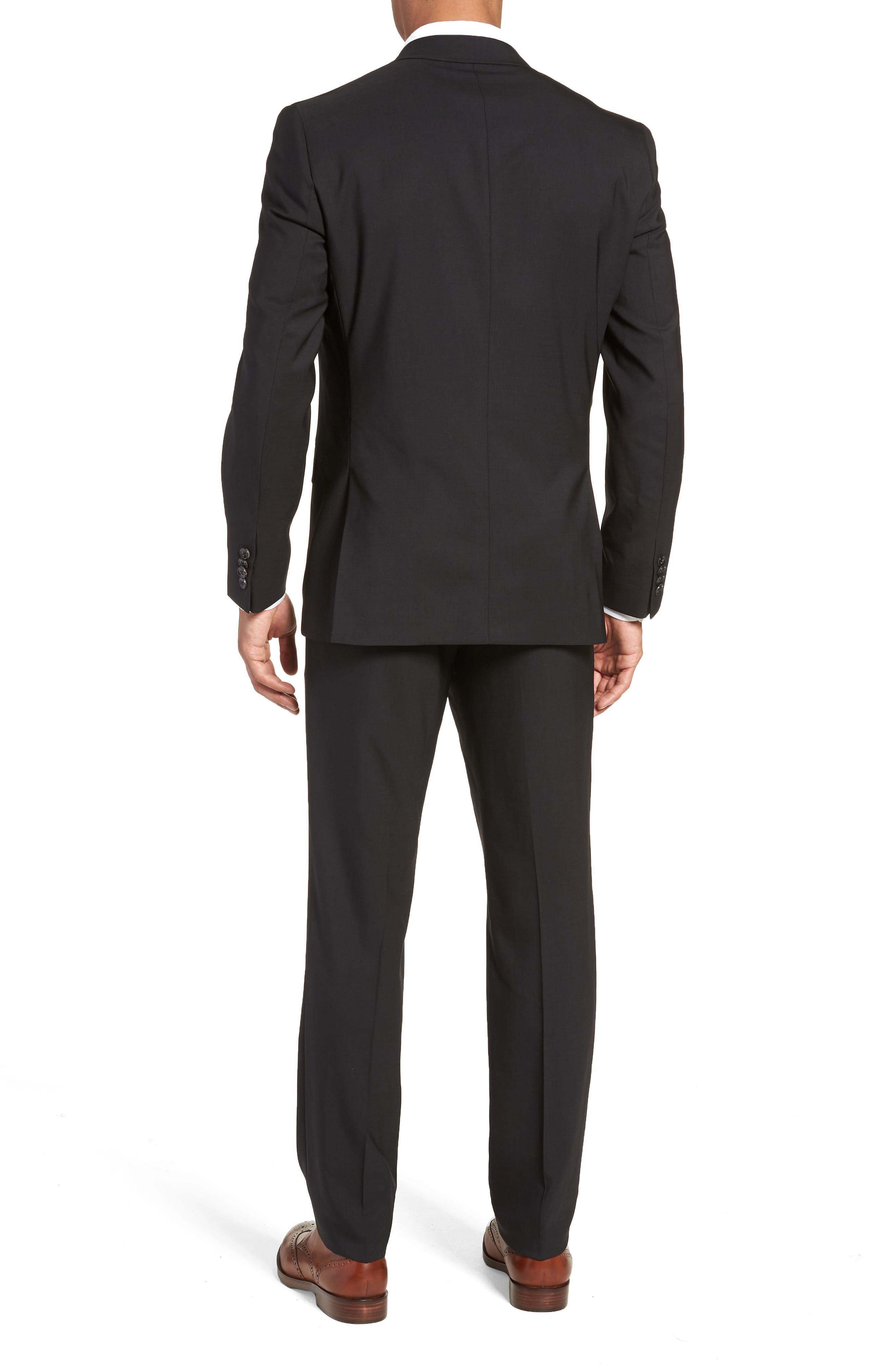 TED BAKER LONDON, Jay Trim Fit Solid Wool Suit, Alternate thumbnail 2, color, BLACK