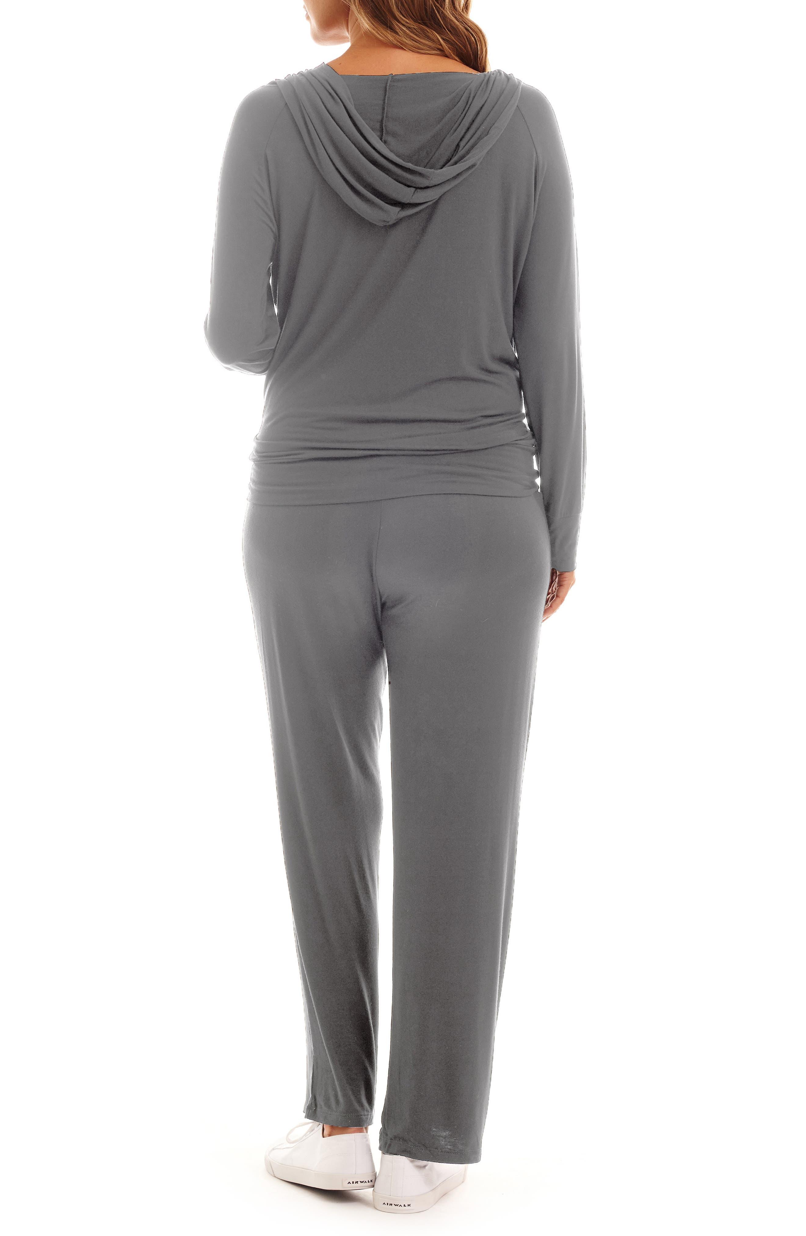 EVERLY GREY, Irene Maternity/Nursing Hoodie & Pants Set, Alternate thumbnail 2, color, CHARCOAL
