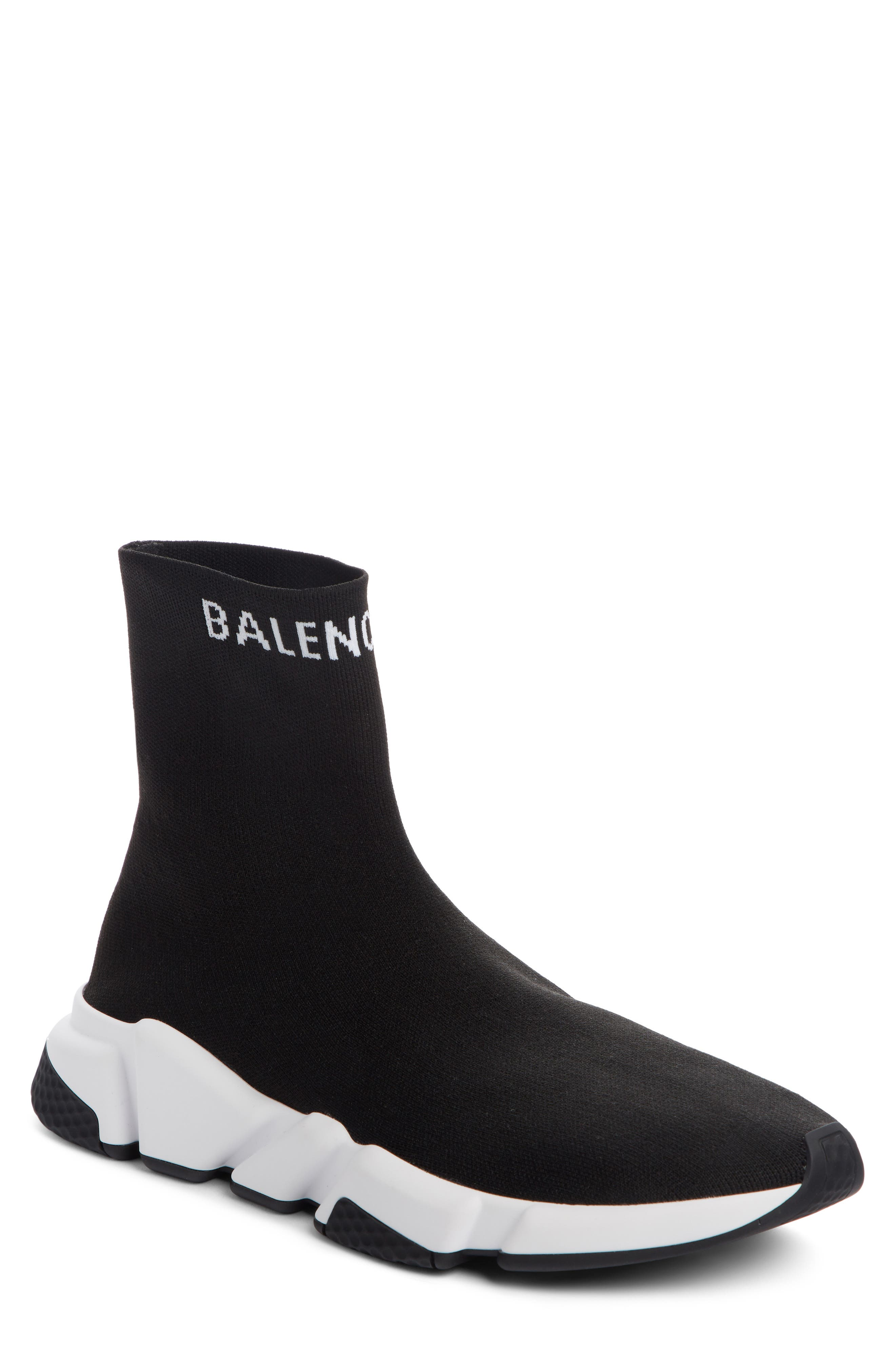 BALENCIAGA, Speed Sock Slip-On, Main thumbnail 1, color, BLACK/ WHITE