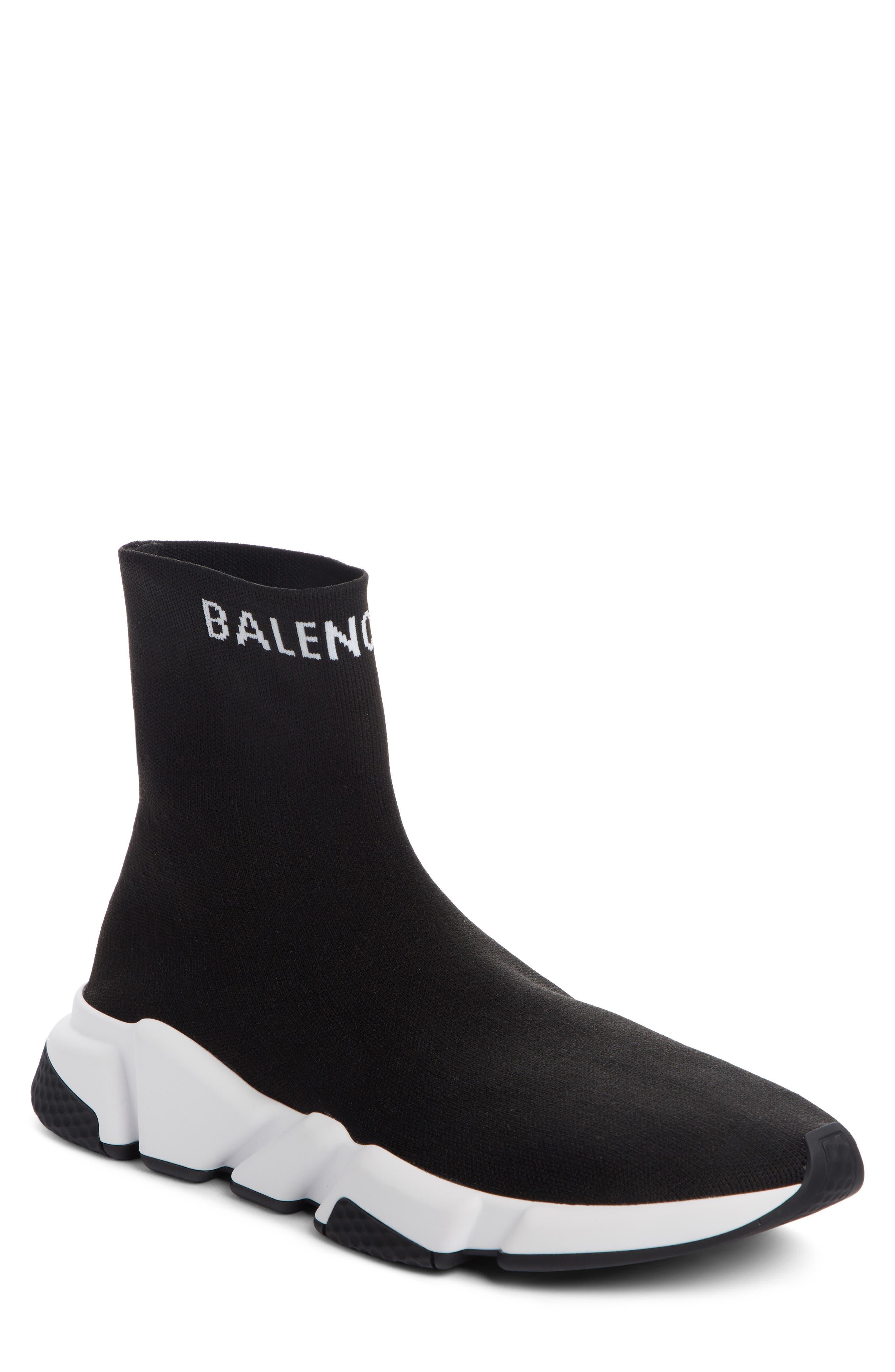 BALENCIAGA Speed Sock Slip-On, Main, color, BLACK/ WHITE