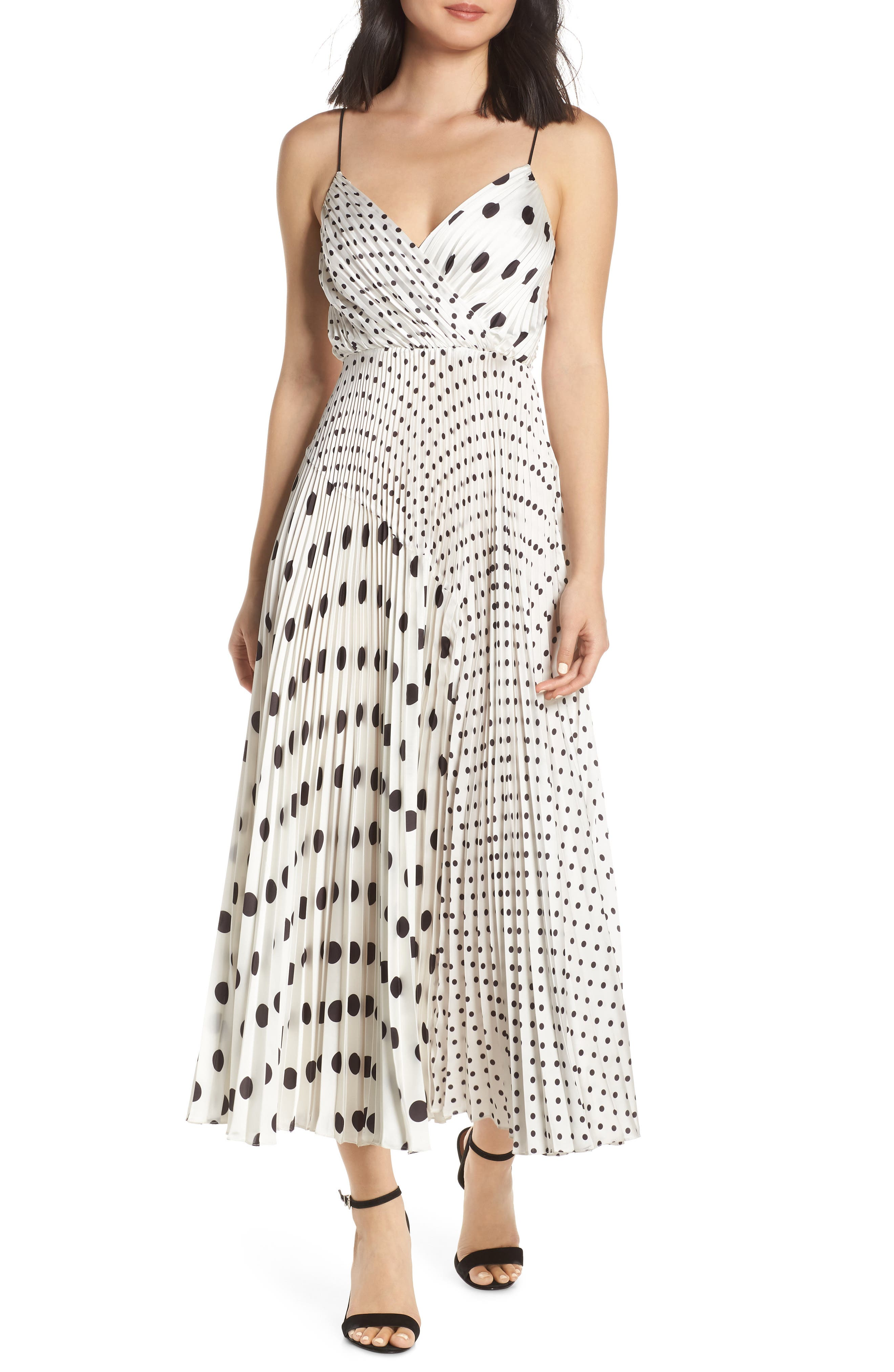 Jill Jill Stuart Polka Dot Mix Print Midi Dress, White